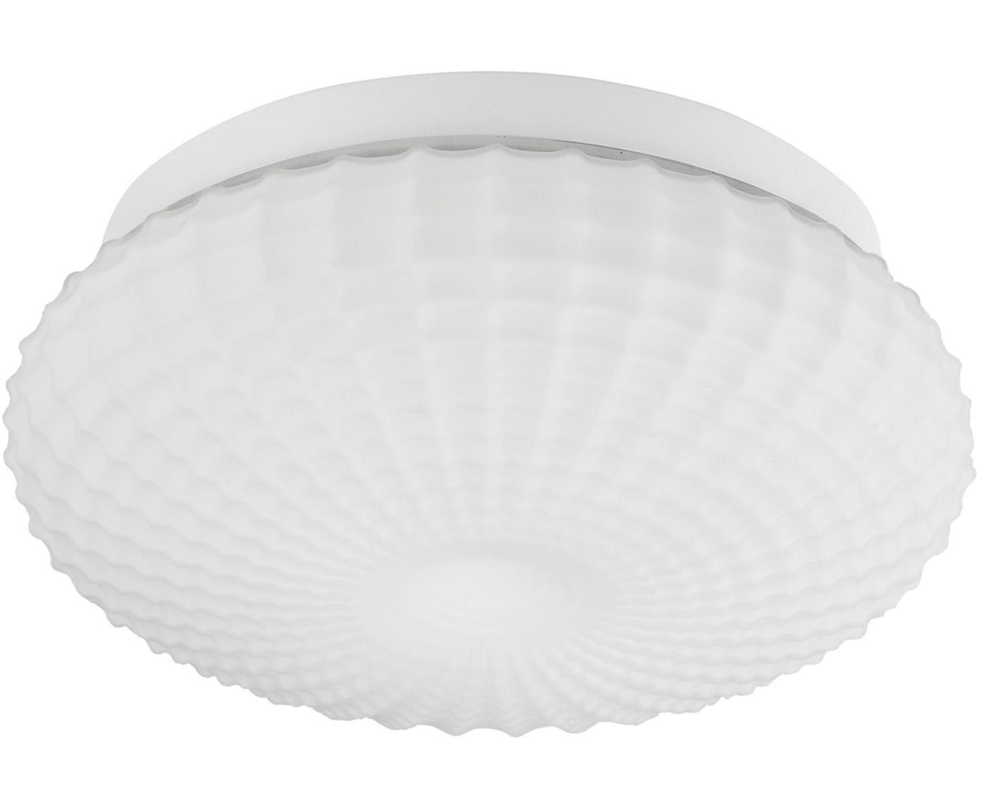 Dimbare plafondlamp Clam van glas, Lampenkap: glas, Baldakijn: gecoat staal, Wit, Ø 30 x H 12 cm