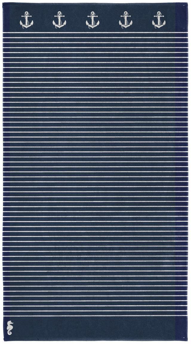 Ręcznik plażowy Sail Away, Egipska bawełna, średnia gramatura 420 g/m, Ciemny niebieski, biały, S 100 x D 180 cm
