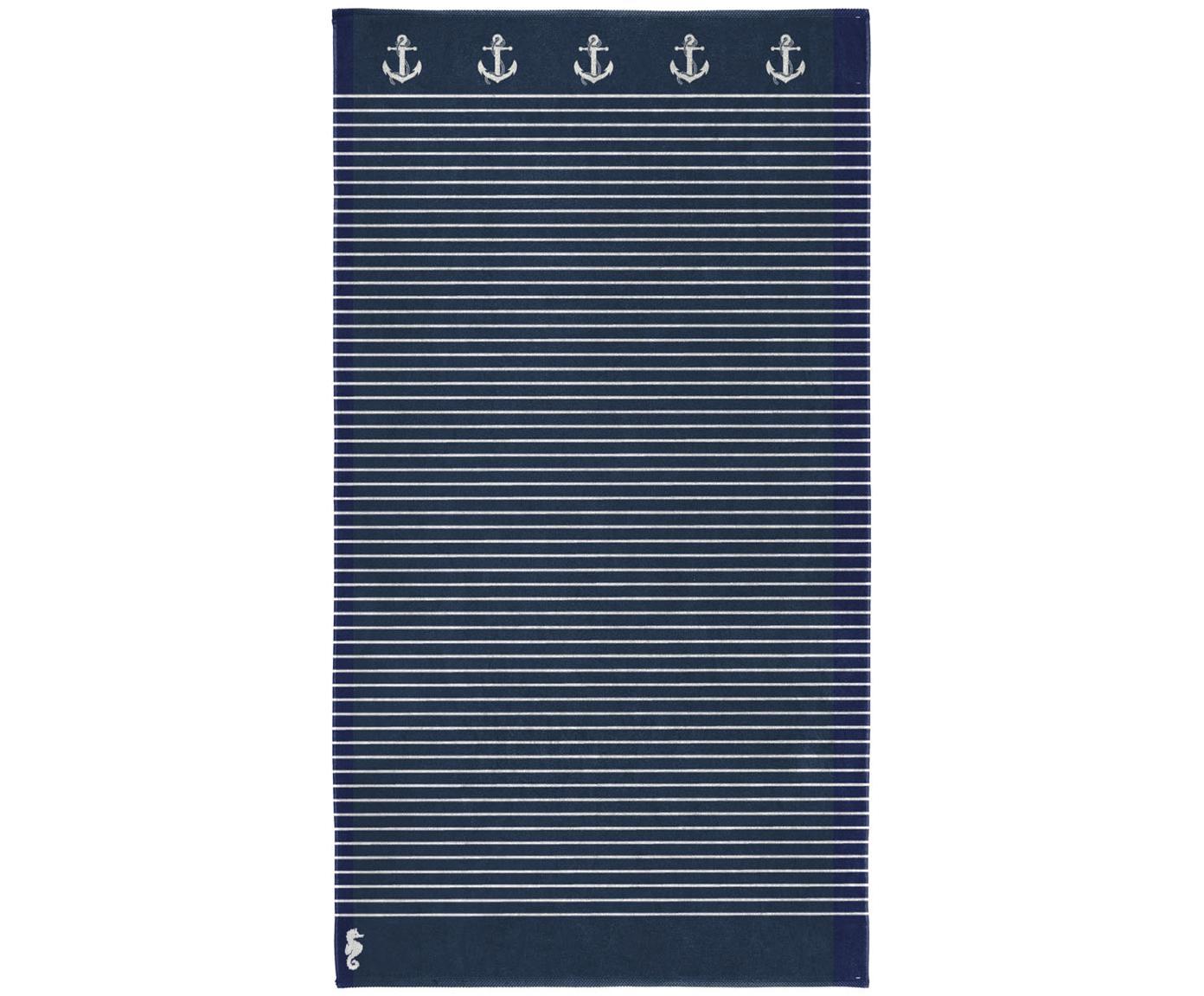 Toalla de playa Sail Away, 100%algodón egipcio Gramaje medio 420g/m, Azul oscuro, blanco, An 100 x L 180 cm