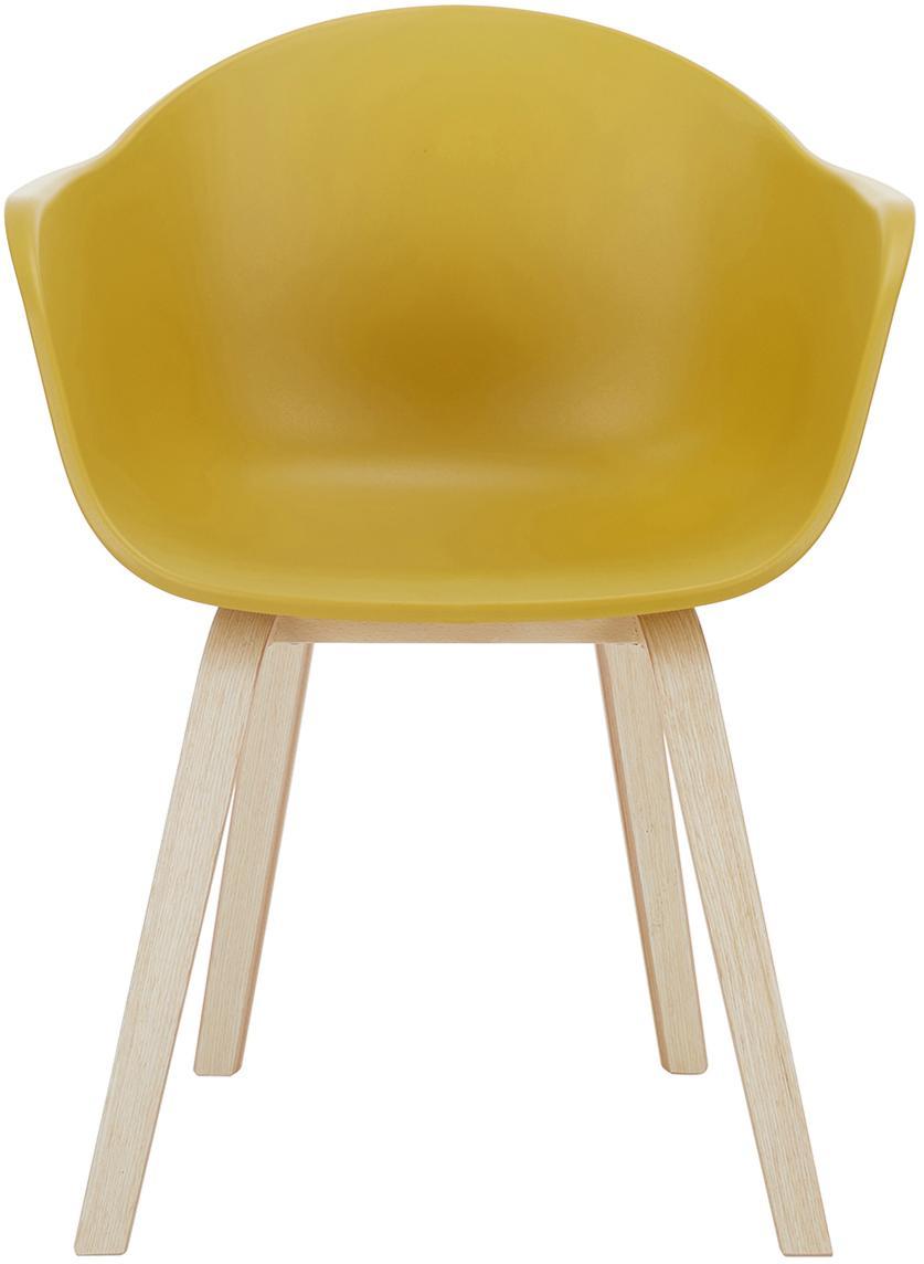 Kunststoff-Armlehnstuhl Claire mit Holzbeinen, Sitzschale: Kunststoff, Beine: Buchenholz, Kunststoff Gelb, B 54 x T 60 cm