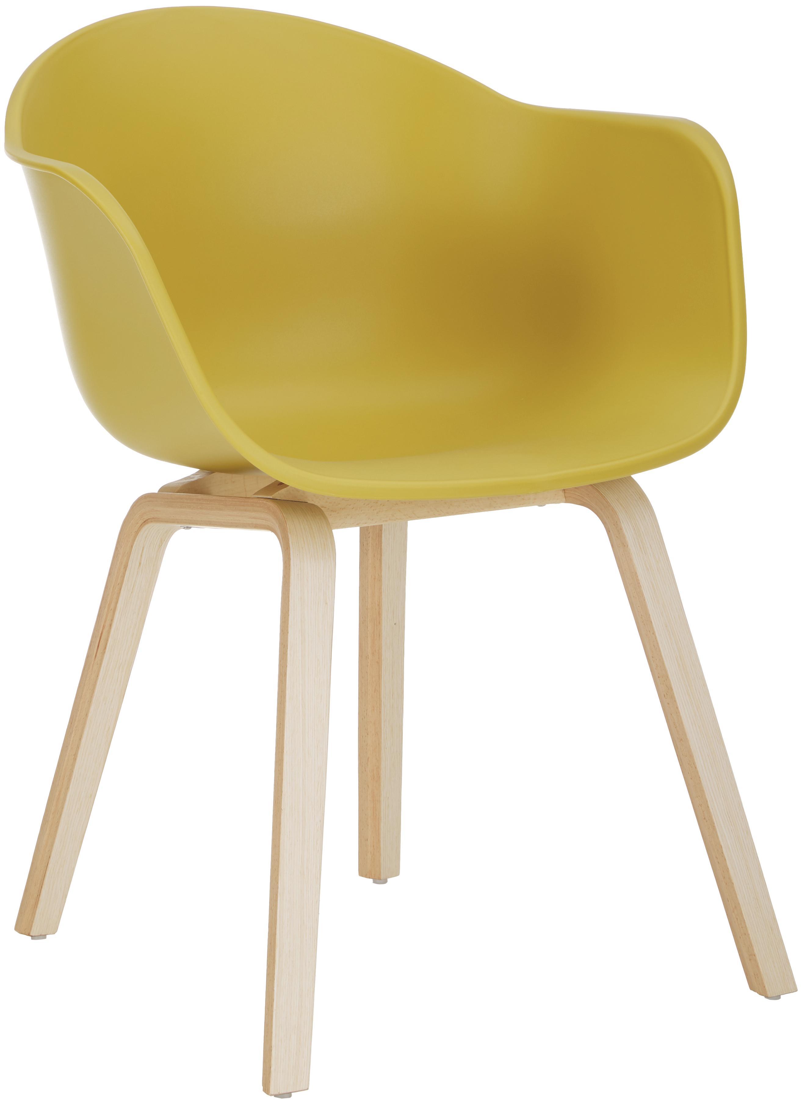 Silla de plático con reposabrazos Claire, Asiento: plástico, Patas: madera de haya, Asiento: amarillo Patas: madera de haya, An 54 x F 60 cm