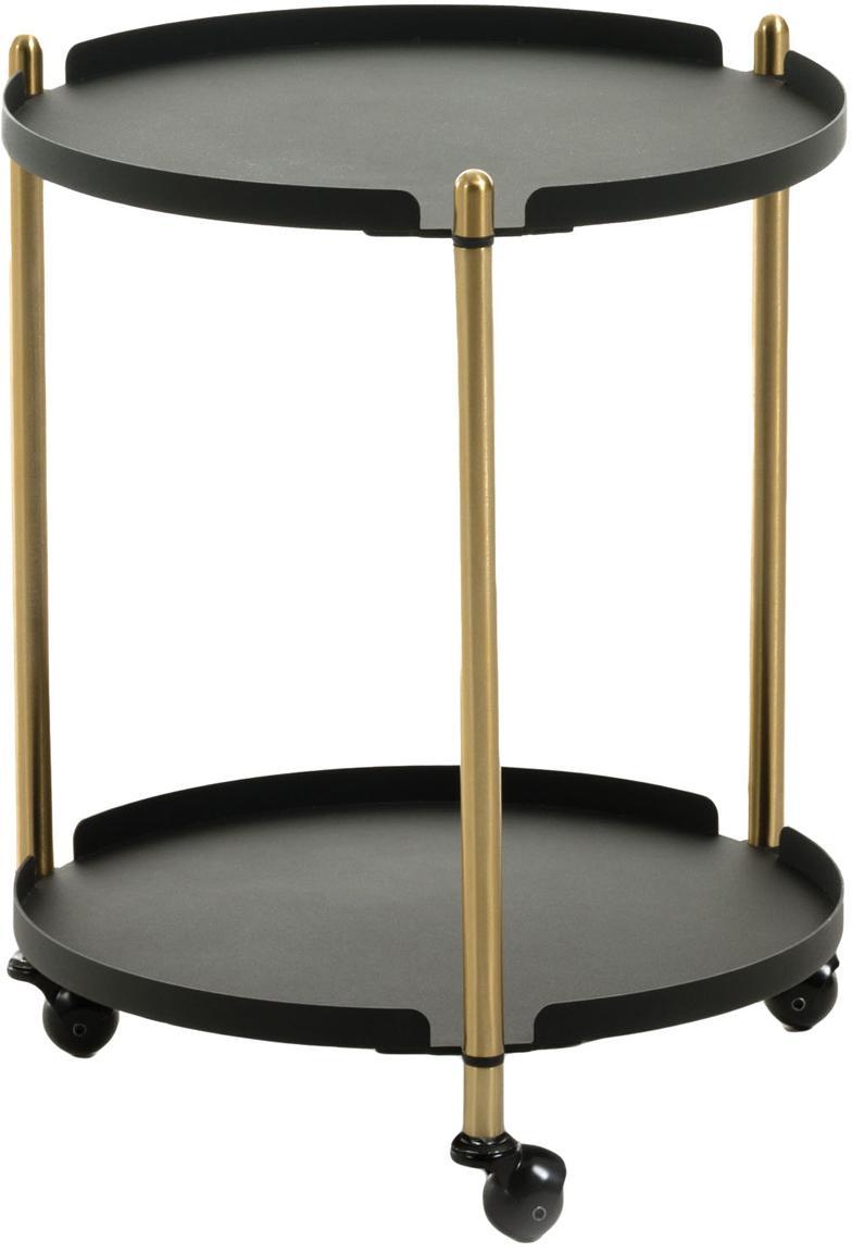 Okrągły wózek barowy Maj, Metal, Czarny, odcienie mosiądzu, Ø 42 x W 53 cm