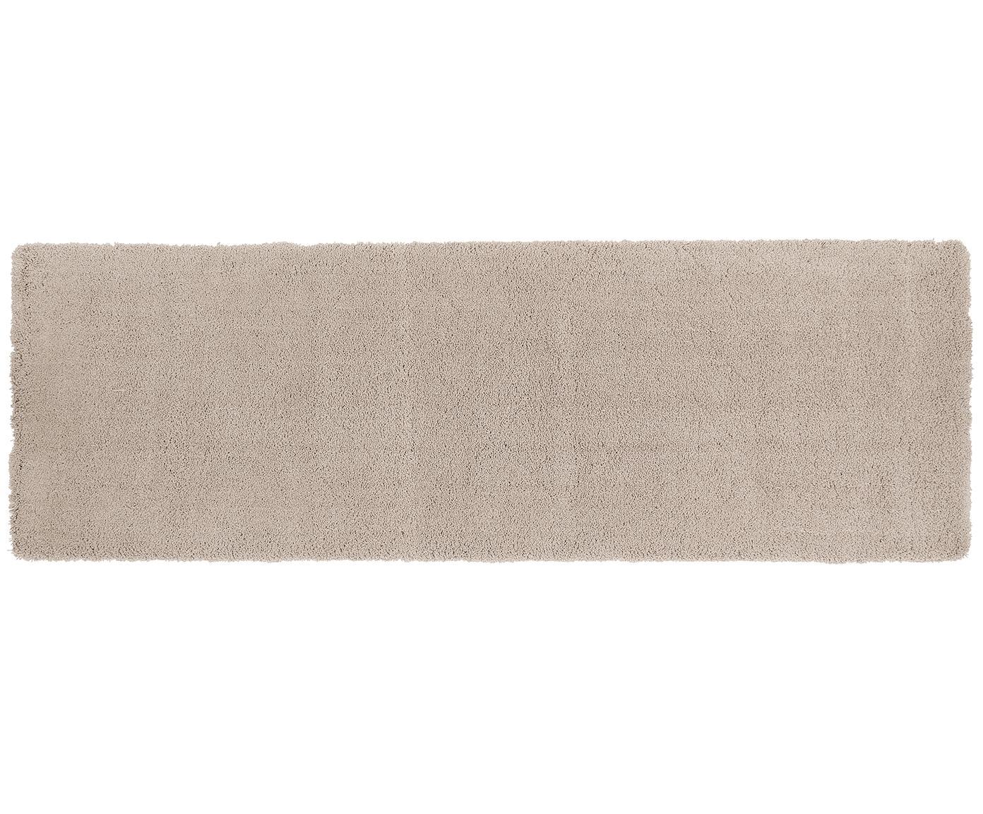 Passatoia pelosa morbida beige Leighton, Retro: 100% poliestere, Beige-marrone, Larg. 80 x Lung. 250 cm