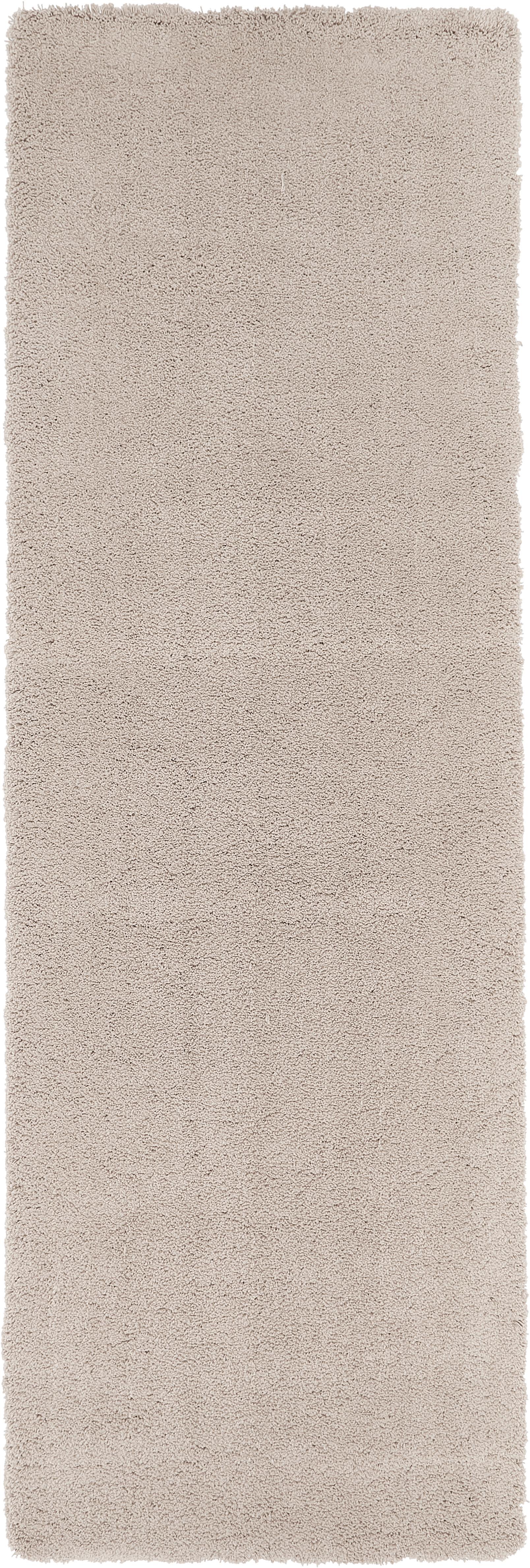Alfombra de pelo largo Leighton, Parte superior: 100%poliéster (microfibr, Reverso: 70%poliéster, 30%algodó, Beige, An 80 x L 250 cm