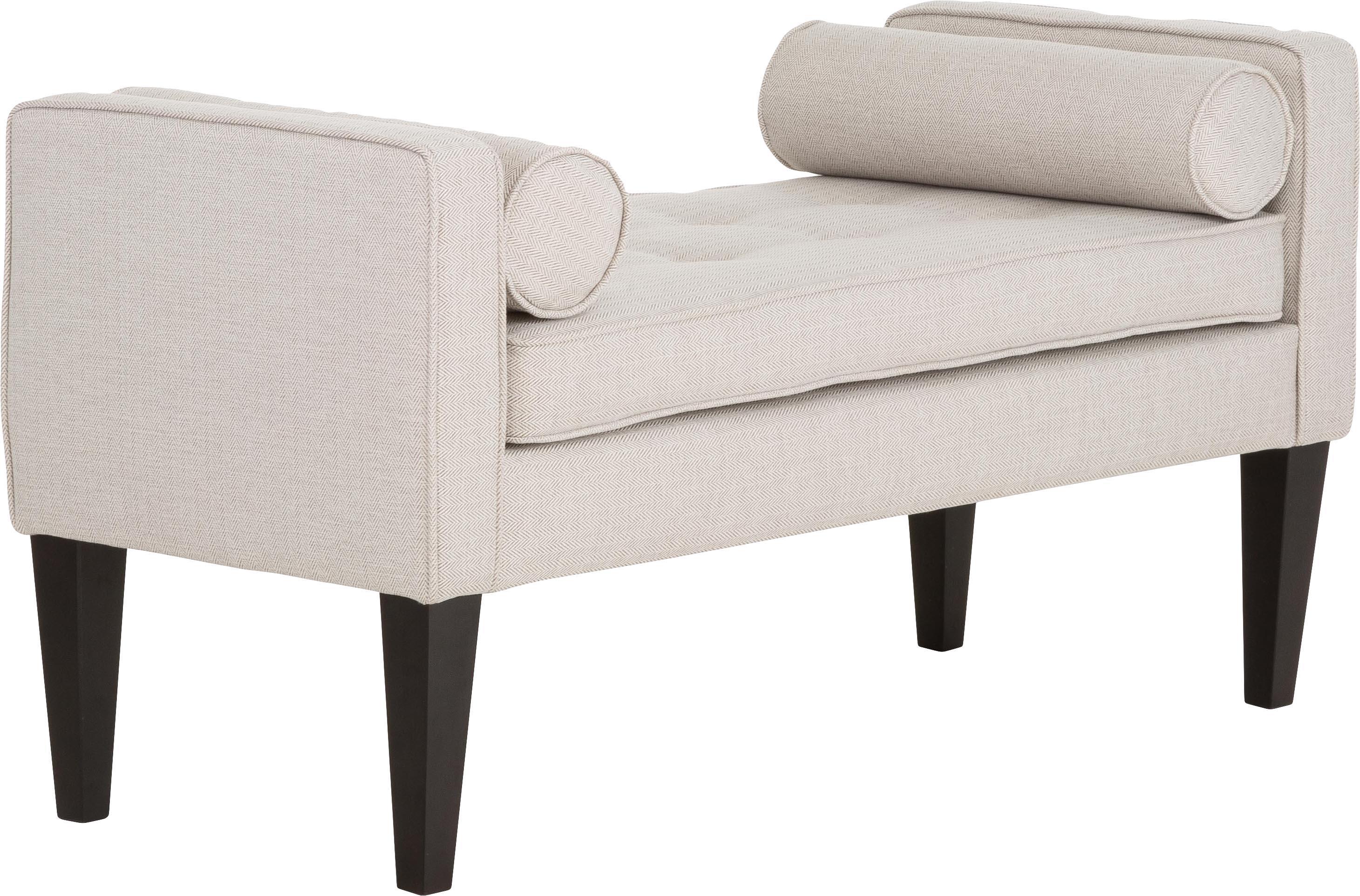 Bettbank Mia mit Kissen, Bezug: 67% Polypropylen, 33% Pol, Beine: Birkenholz, lackiert, Bezug: Beige, Weiss<br>Beine: Schwarz, 115 x 61 cm