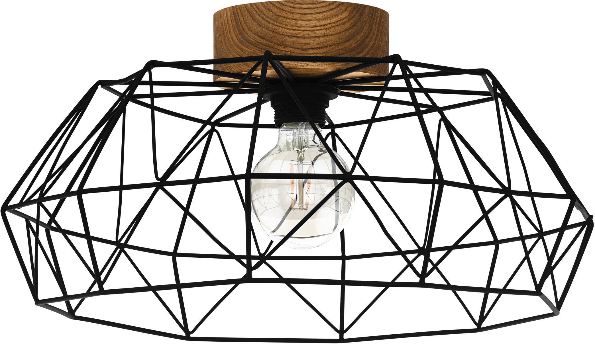 Plafondlamp Padstow, Lampenkap: gelakt metaal, Baldakijn: hout, Zwart, houtkleurig, Ø 46 x H 21 cm