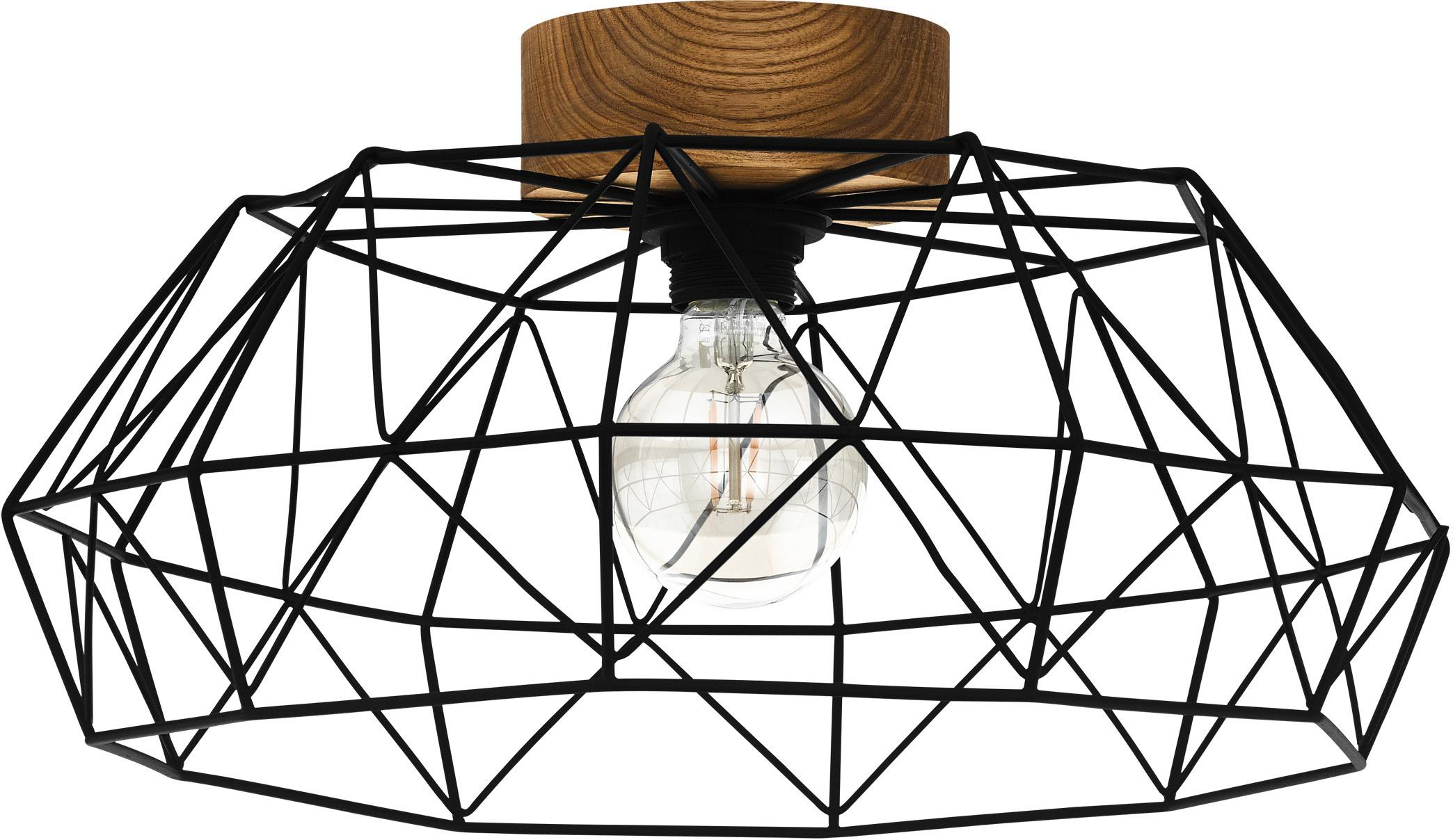 Plafoniera Padstow, Paralume: metallo verniciato, Baldacchino: legno, Nero, Ø 46 x Alt. 21 cm