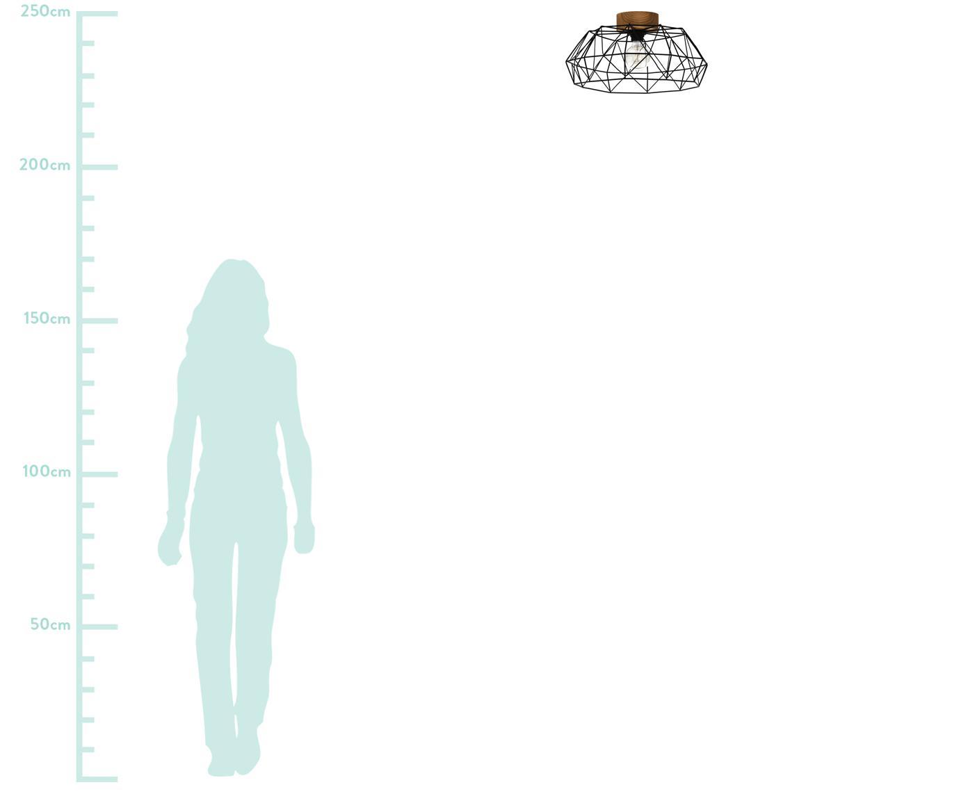 Deckenleuchte Padstow, Lampenschirm: Metall, lackiert, Baldachin: Holz, Schwarz, Ø 46 x H 21 cm