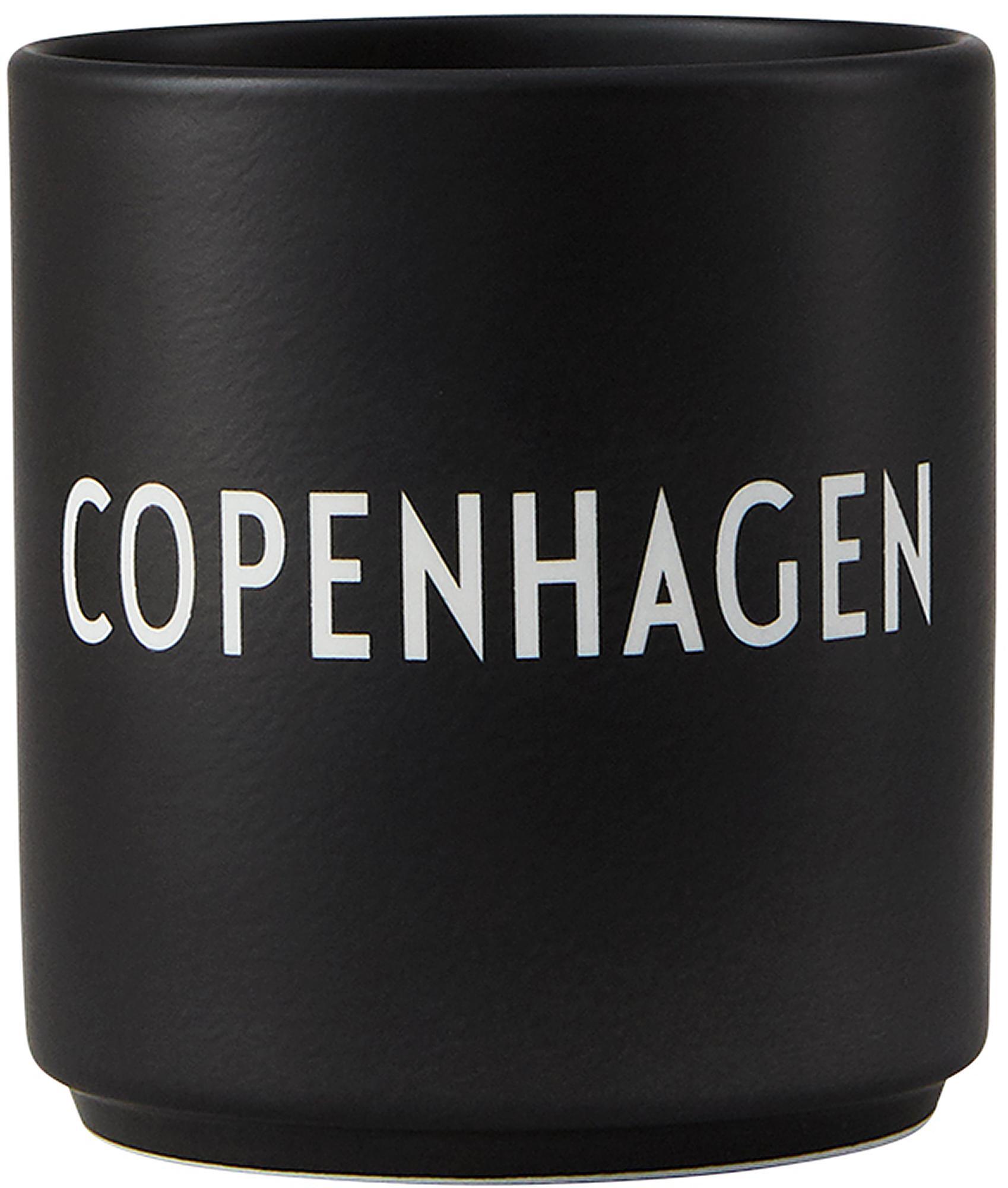 Tazza di design nera Favourite COPENHAGEN, Fine Bone China (porcellana), Nero, bianco, Ø 8 x Alt. 9 cm