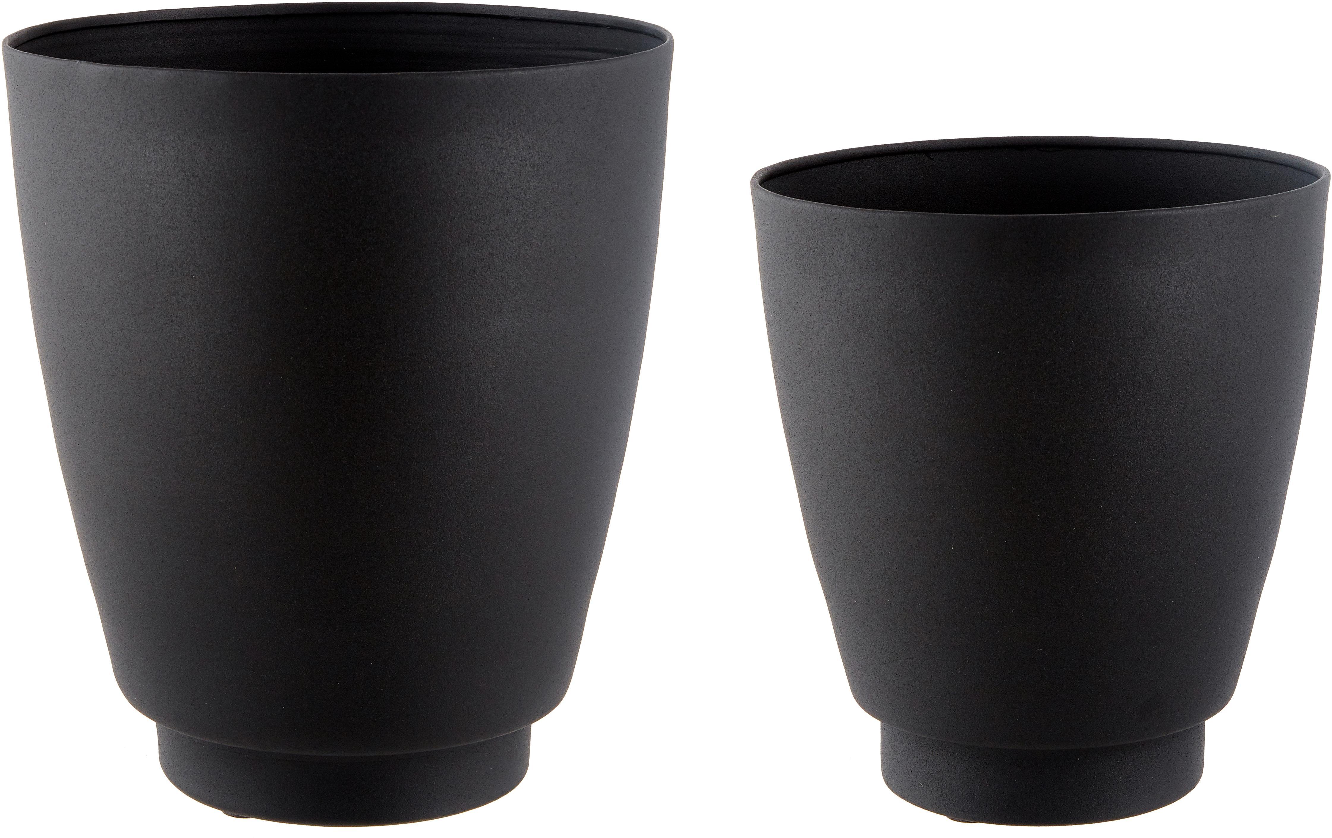 Großes Übertopf-Set Timber aus Metall, 2-tlg., Metall, beschichtet, Schwarz, Sondergrößen
