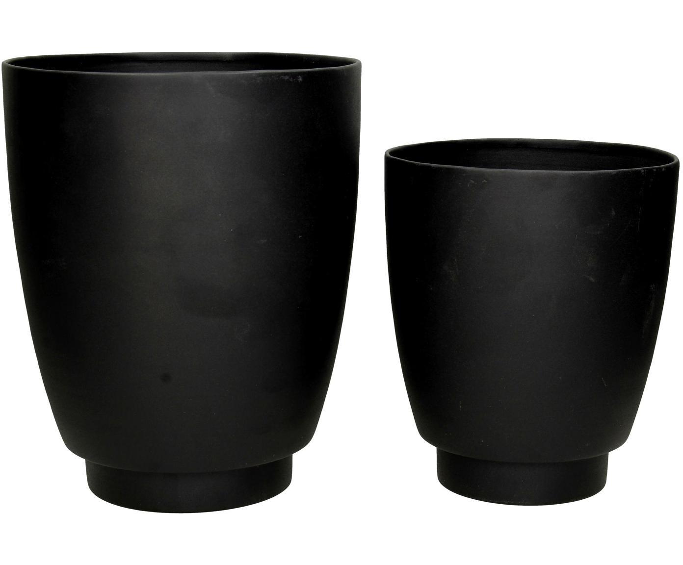 Set di 2 portavasi Timber, Metallo rivestito, Nero, Ø 21 x Alt. 26 cm