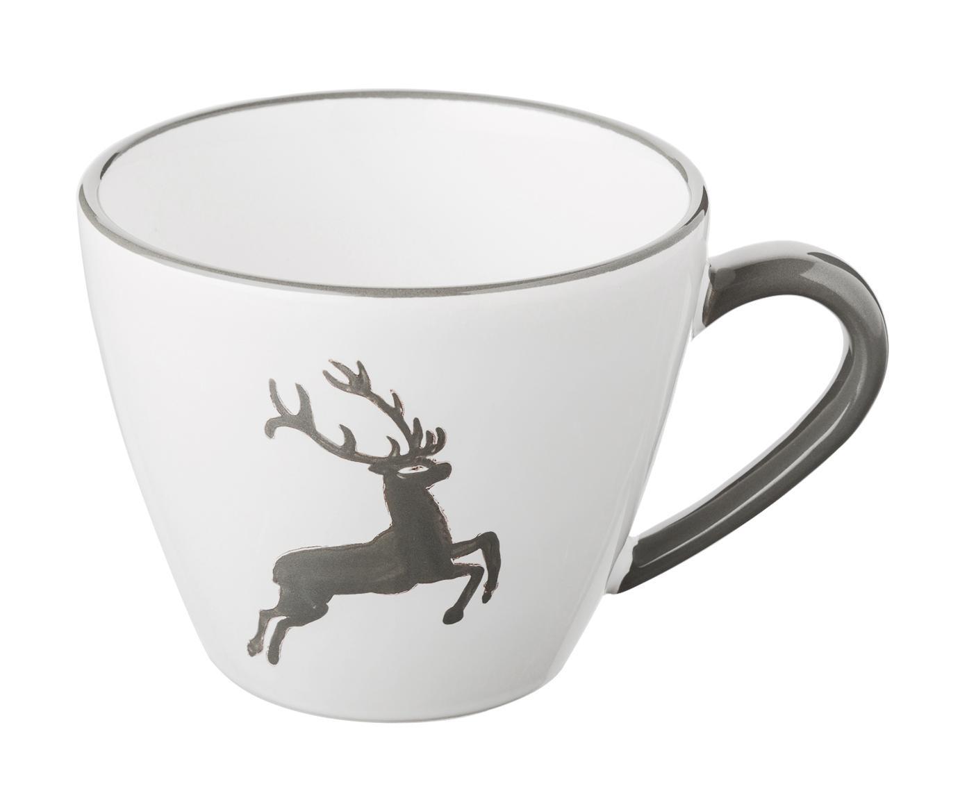 Kaffeetasse Gourmet Grauer Hirsch, Keramik, Grau,Weiß, 200 ml