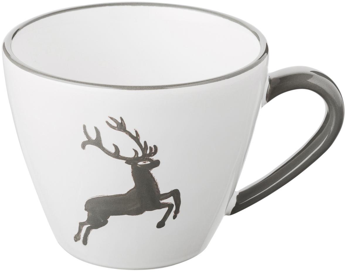 Taza de café artesanal Gourmet Grauer Hirsch, Cerámica, Gris, blanco, 200 ml