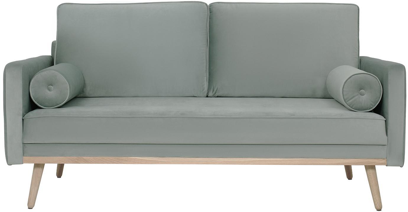 Samt-Sofa Saint (2-Sitzer), Bezug: Samt (Polyester) Der hoch, Gestell: Massives Eichenholz, Span, Samt Salbeifarben, B 169 x T 87 cm