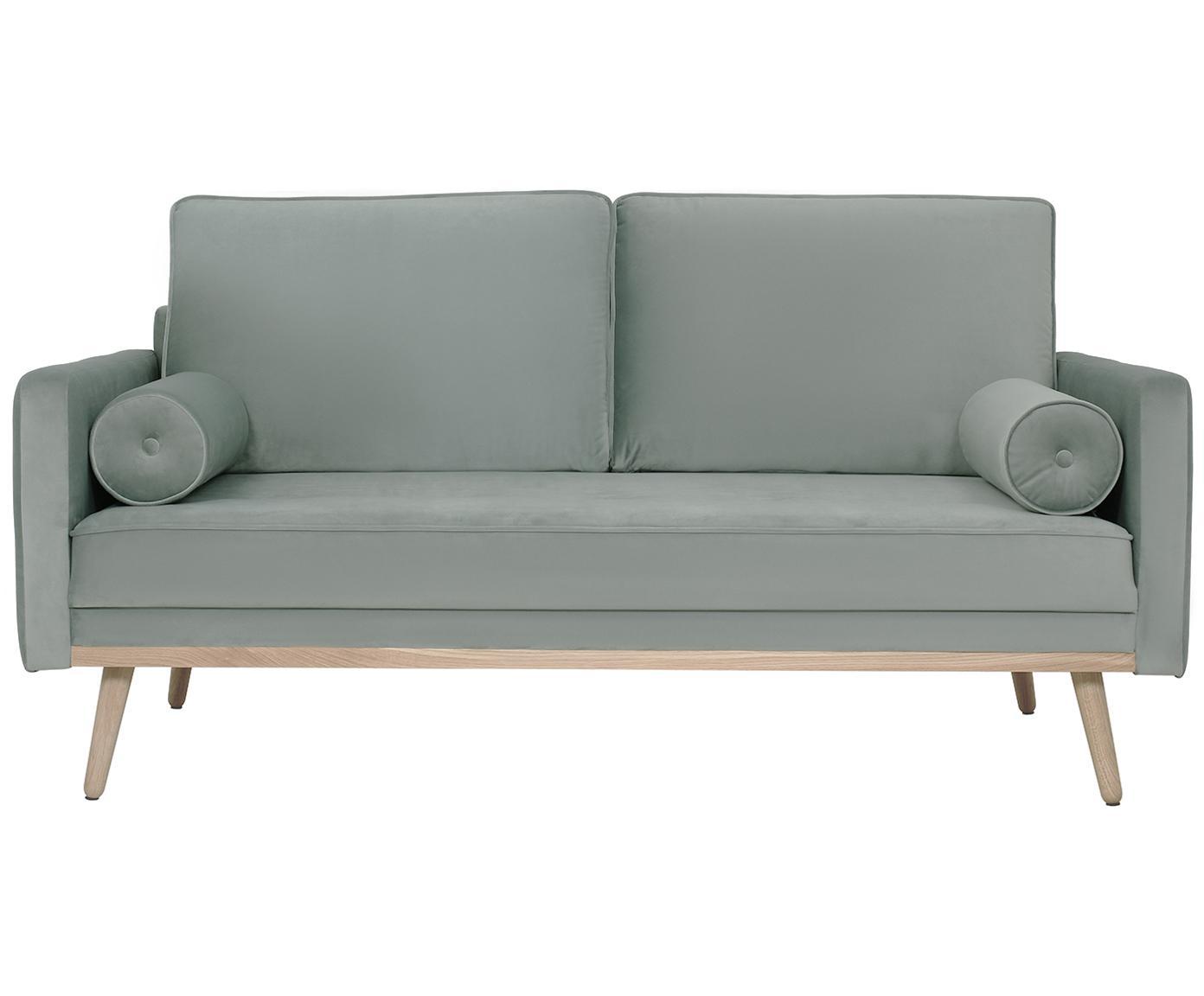 Sofa z aksamitu Saint (2-osobowa), Tapicerka: aksamit (poliester) 3500, Stelaż: lite drewno sosnowe, płyt, Aksamitny szałwiowy zielony, S 169 x G 87 cm