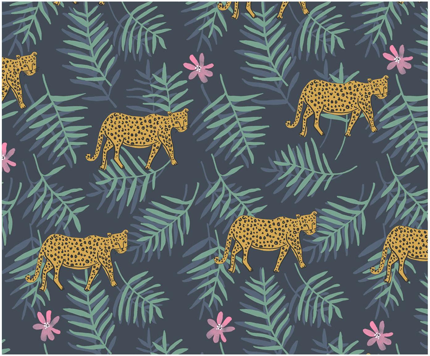 Tapete Leopard, Vlies, glatt, Dunkelblau, 52 x 1000 cm