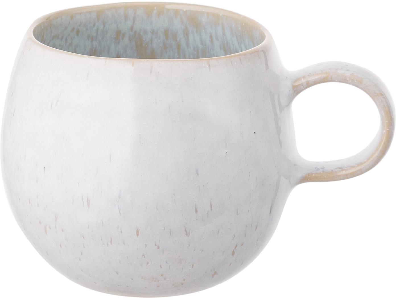 Handbemalte Teetassen Areia mit reaktiver Glasur, 2 Stück, Steingut, Hellblau, Gebrochenes Weiss, Hellbeige, Ø 9 x H 10 cm