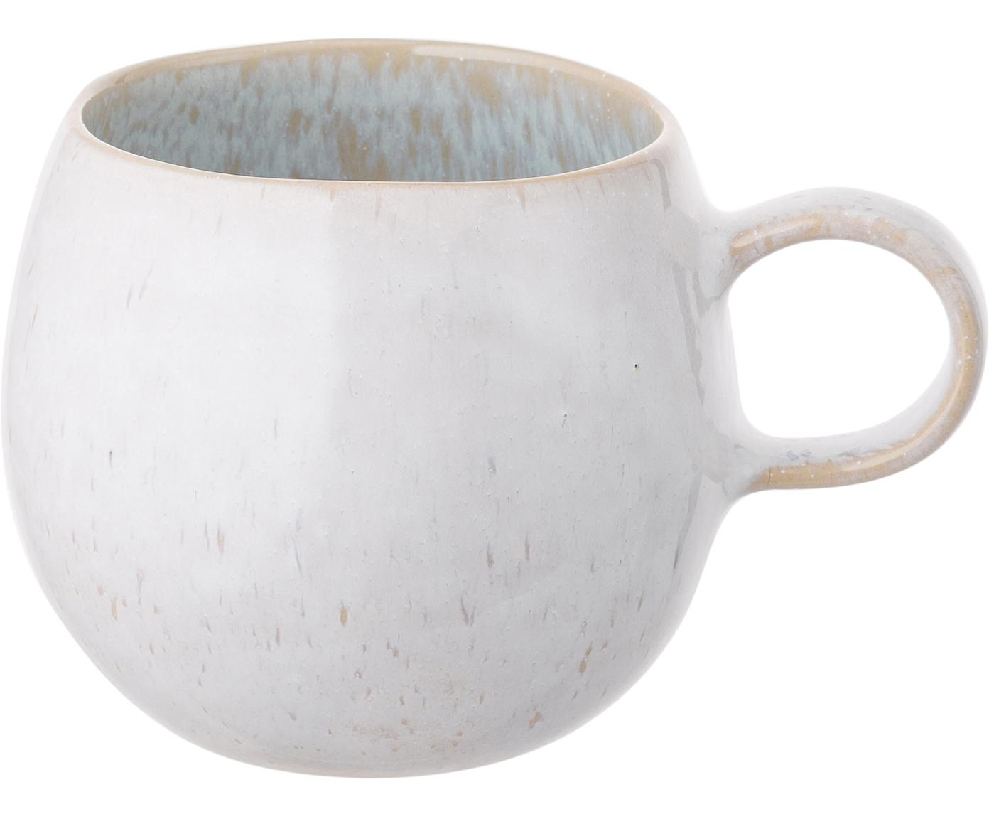 Handbemalte Teetassen Areia, 2 Stück, Steingut, Hellblau, Gebrochenes Weiss, Hellbeige, Ø 9 x H 10 cm