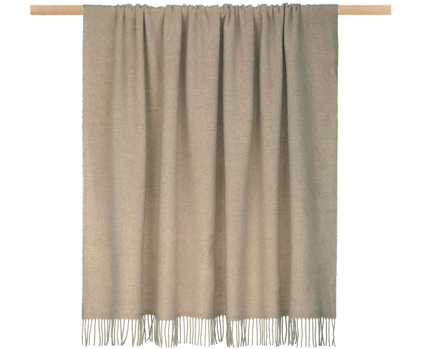 Plaid in lana leggero con finitura a frange Patriciu, 100% lana, Beige, Larg. 130 x Lung. 170 cm