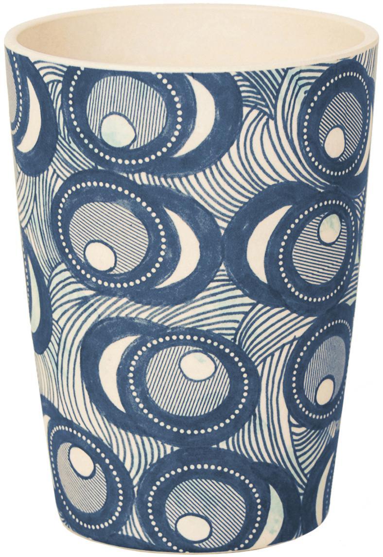 Bamboehouten beker Fish Eye, Gelakte bamboevezels, Blauw, wit, Ø 8 x H 11 cm