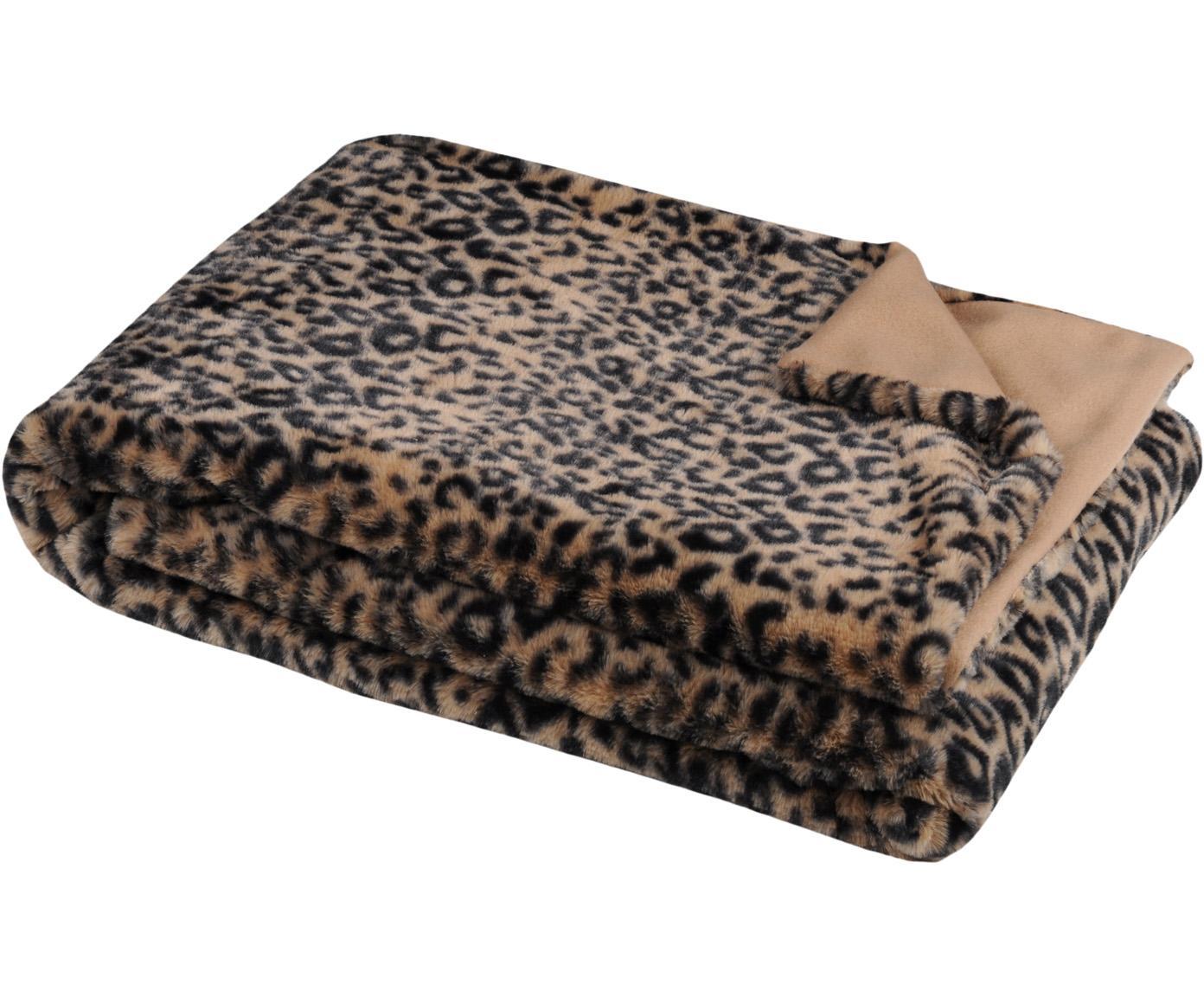Plaid Jangal mit Leopardenmuster, 100% Polyester, Beige, Schwarz, 130 x 160 cm