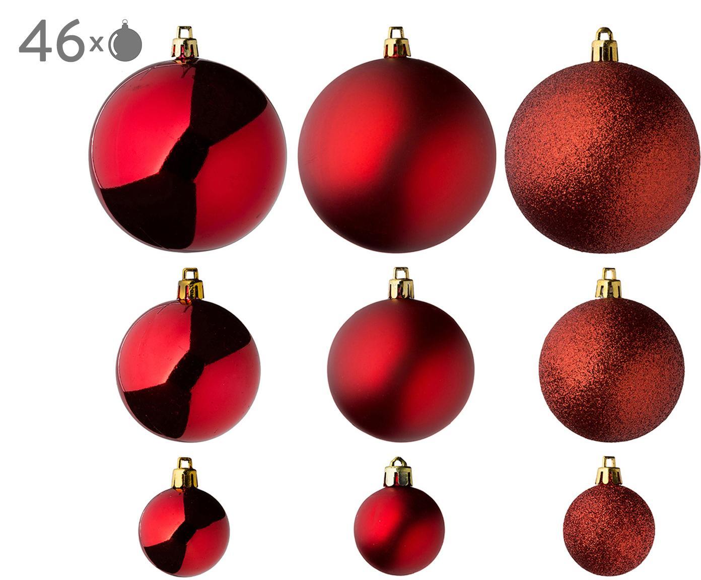 Set palline di Natale Silvia 46 pz, Materiale sintetico, Rosso, Diverse dimensioni