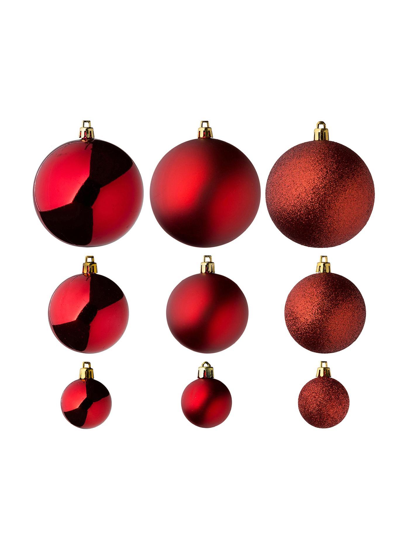 Kerstballenset Silvia, 46-delig, Kunststof, Rood, Verschillende formaten