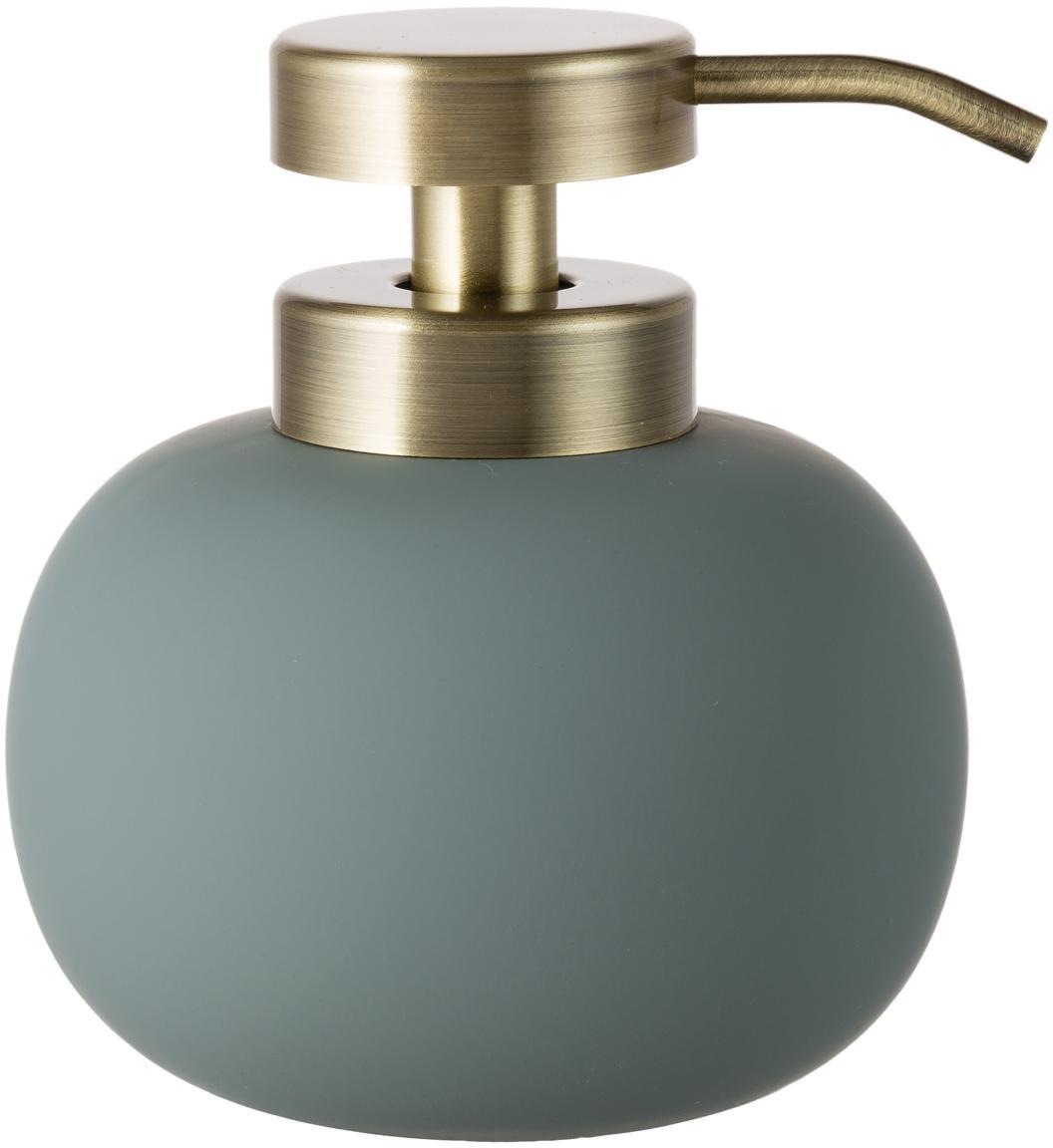 Dosatore di sapone Lotus, Contenitore: ceramica, Testa della pompa: metallo, Verde, ottone, Ø 11 x A 13 cm