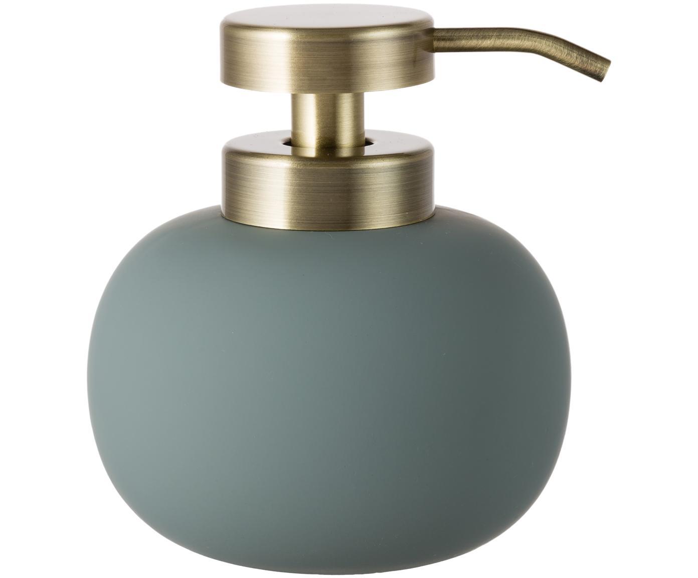 Keramik-Seifenspender Lotus, Behälter: Keramik, Pumpkopf: Metall, Grün, Messingfarben, Ø 11 x H 13 cm