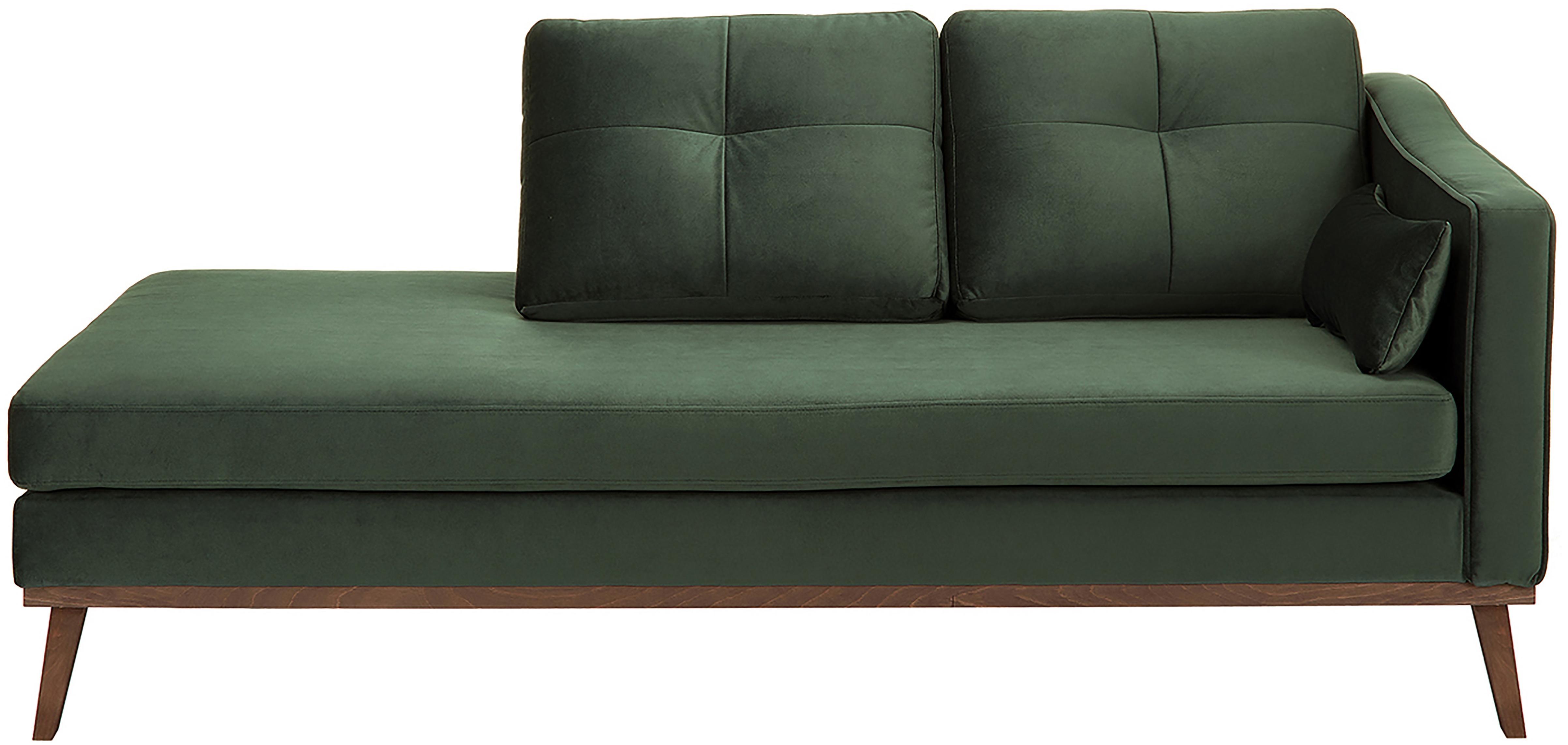 Szezlong z aksamitu Alva, Tapicerka: aksamit (wysokiej jakości, Stelaż: drewno sosnowe, Nogi: lite drewno bukowe, barwi, Aksamitny oliwkowy, S 193 x G 94 cm