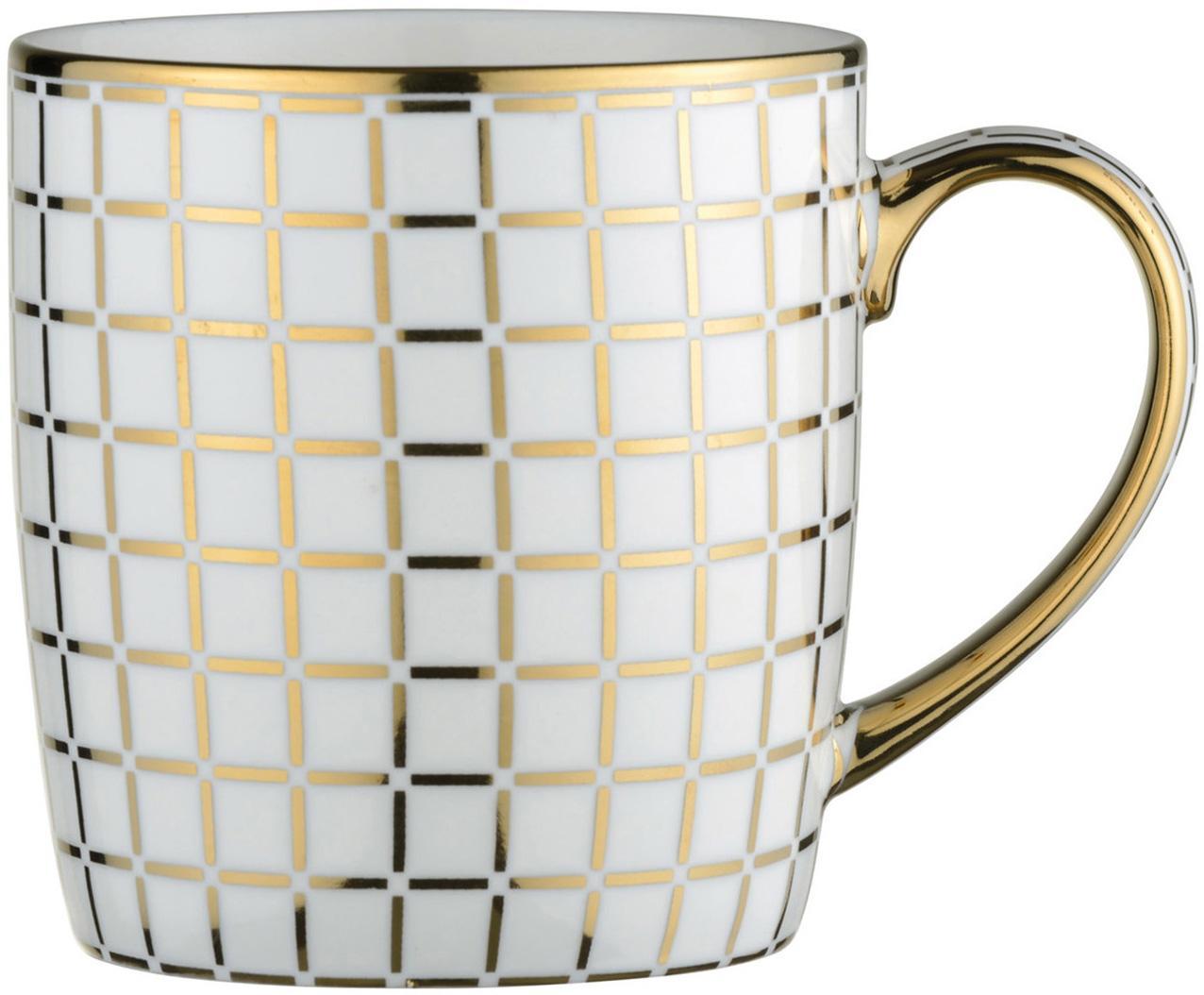 Mokken Lattice, 4 stuks, Porselein, Wit, goudkleurig, Ø 9 x H 10 cm