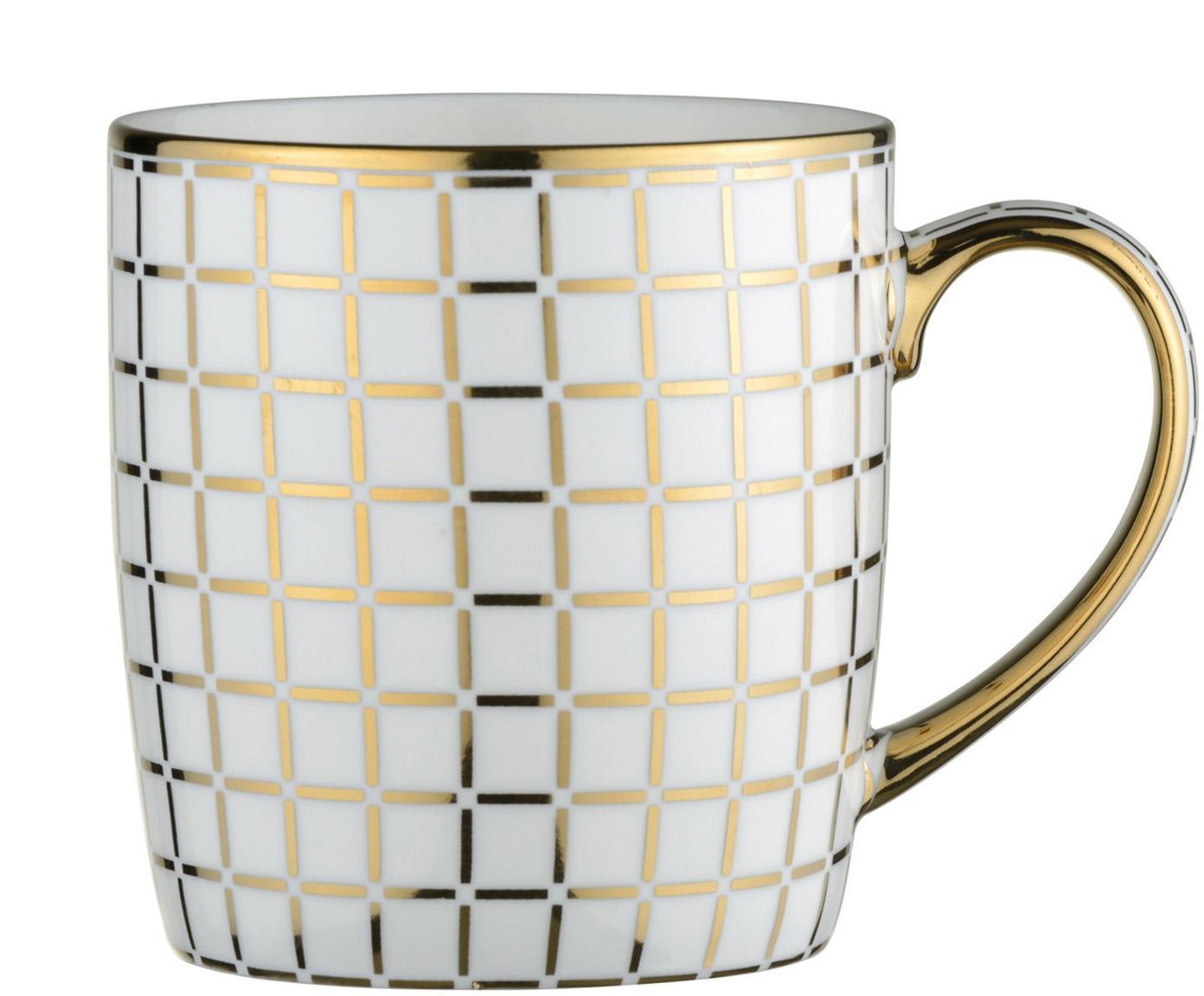Tassen Lattice mit goldenem Dekor, 4 Stück, Porzellan, Weiß, Goldfarben, Ø 9 x H 10 cm