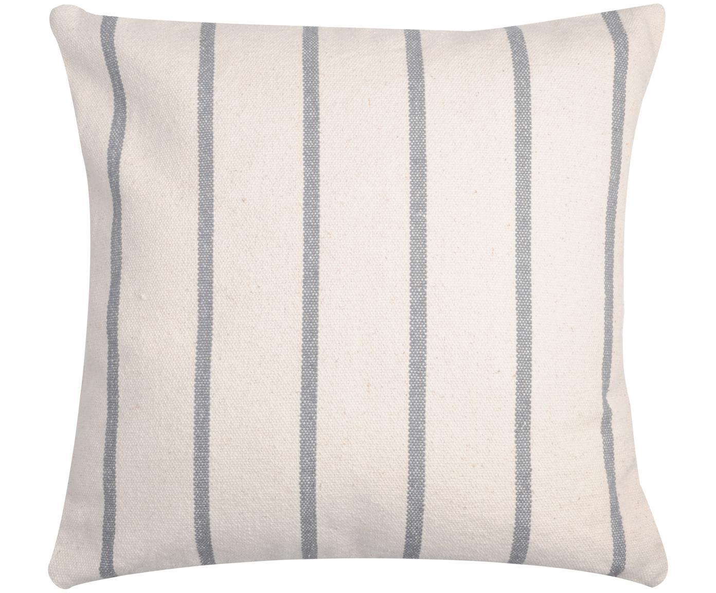 Gestreiftes Kissen Pampelonne, mit Inlett, Bezug: 100% Baumwolle, Anthrazit, Gebrochenes Weiß, 50 x 50 cm