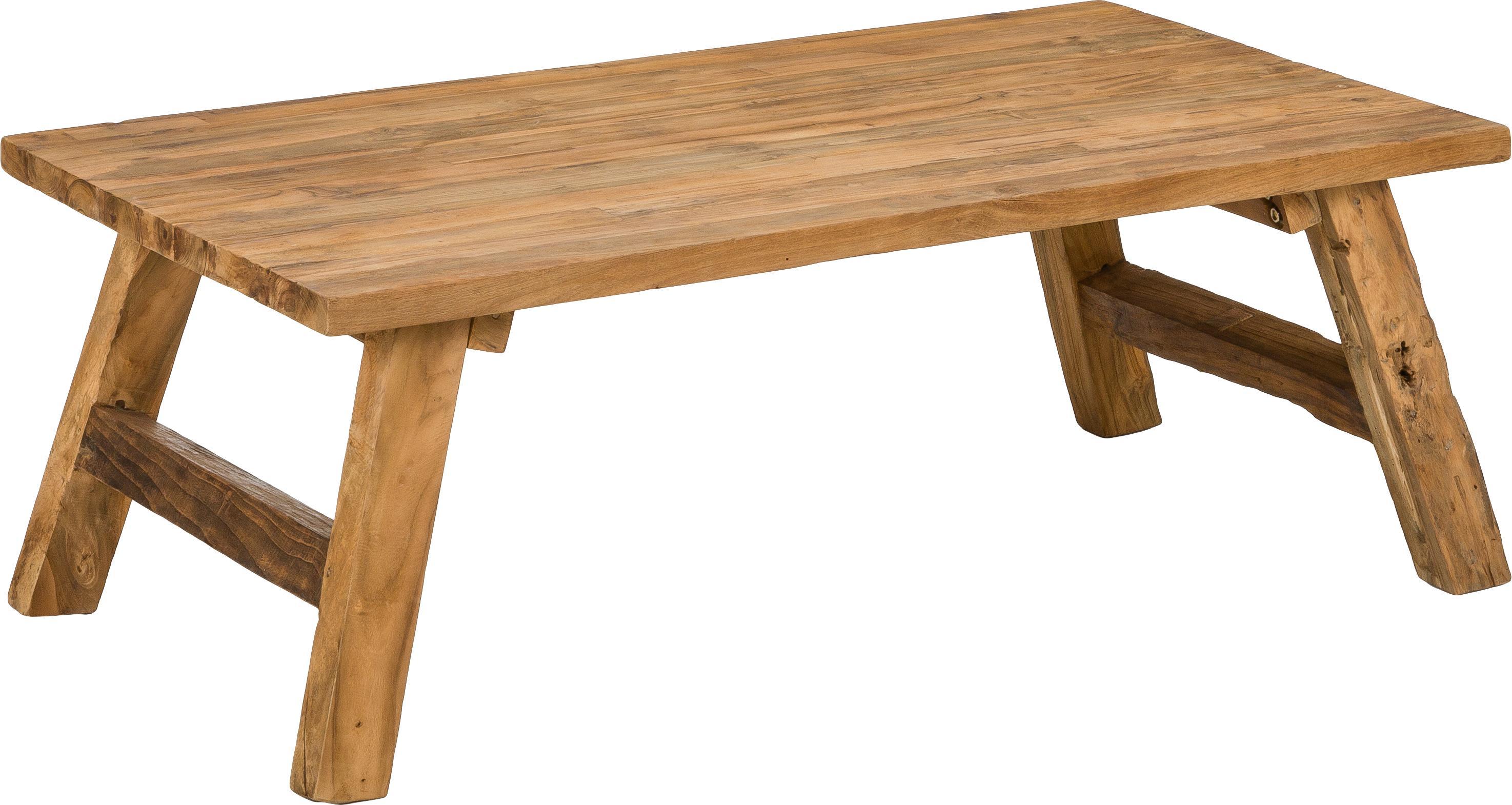 Stolik kawowy z drewna tekowego Lawas, Naturalne drewno tekowe, Drewno tekowe, S 120 x W 45cm