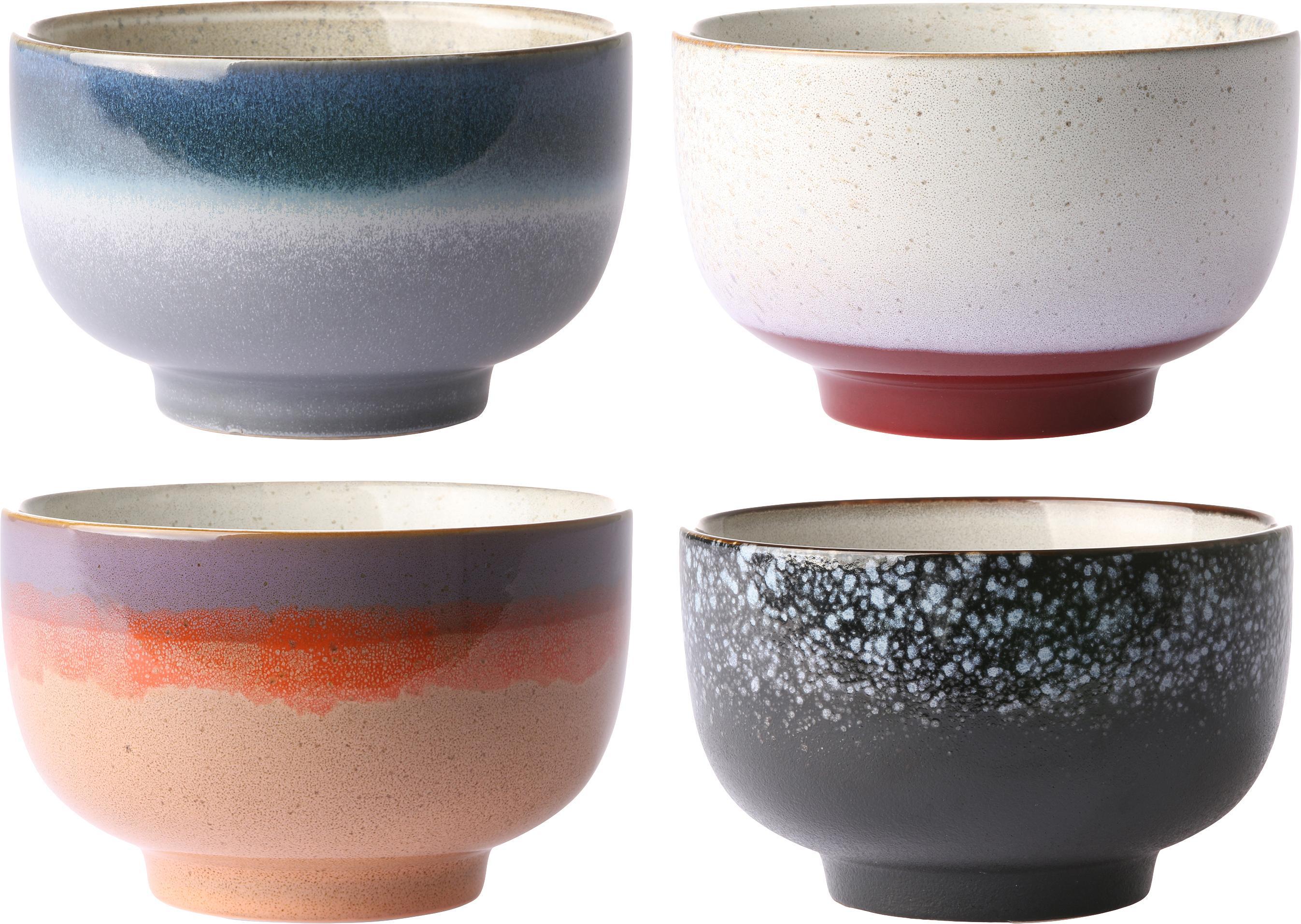 Handgemaakte schalenset 70's, 4-delig, Keramiek, Multicolour, Ø 14 x H 8 cm