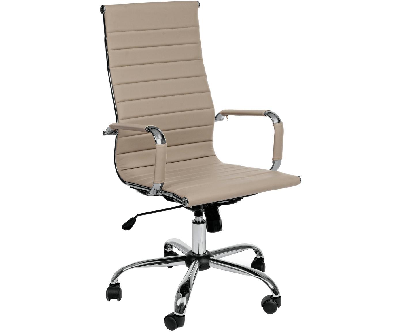 Biurowe krzesło obrotowe ze sztucznej skóry Praga, Stelaż: metal chromowany, Tapicerka: sztuczna skóra (poliureta, Taupe, S 59 x W 110 cm