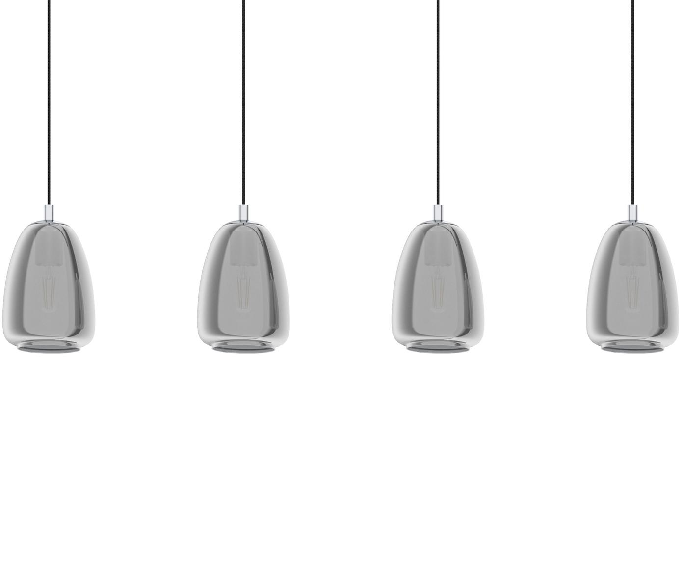 Große Pendelleuchte Alobrase aus Glas, Lampenschirm: Glas, Baldachin: Metall, verchromt, Chrom, 108 x 30 cm