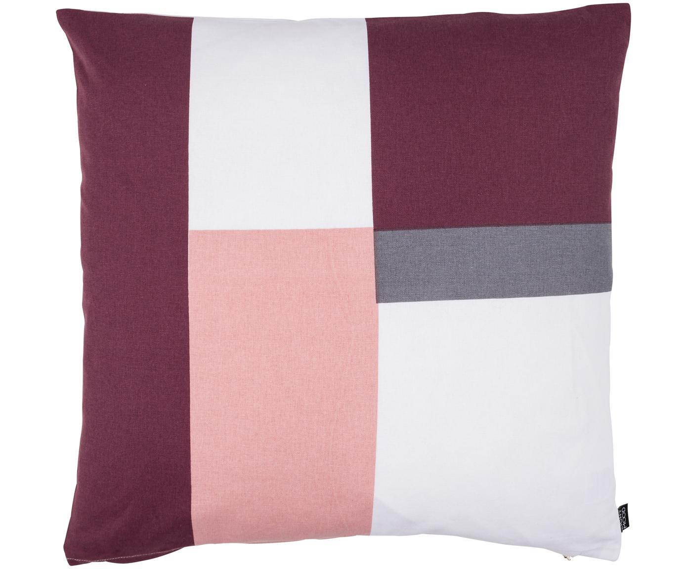 Cuscino reversibile Cubo, Rivestimento: 100% cotone, Vino rosso, rosa, bianco, grigio, Larg. 50 x Lung. 50 cm