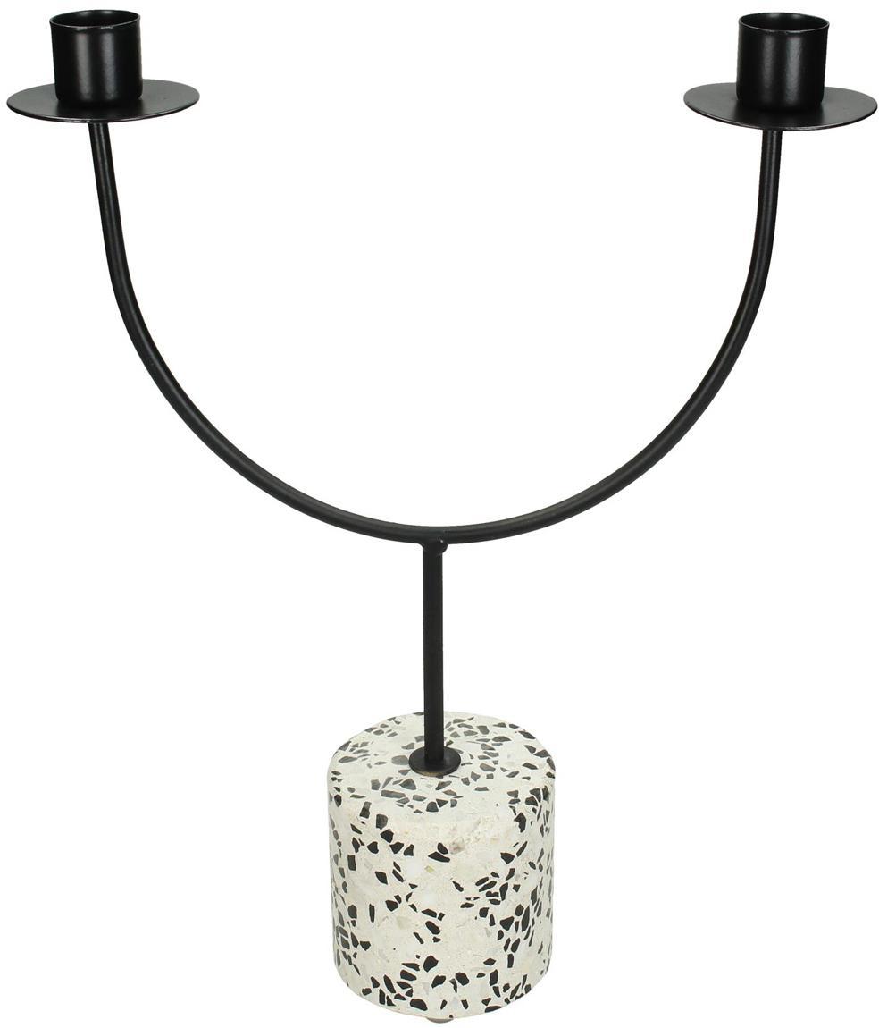 Kerzenhalter Grinno, Terrazzo, Metall, beschichtet, Schwarz, Weiß, 23 x 31 cm