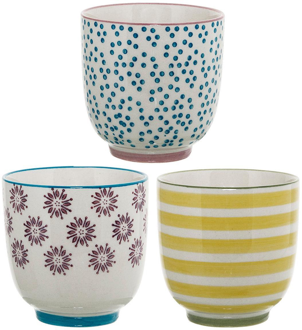 Set 3 tazze da te dipinti a mano Patrizia, Terracotta, Bianco, blu, rosso, giallo, Ø 7 x Alt. 7 cm