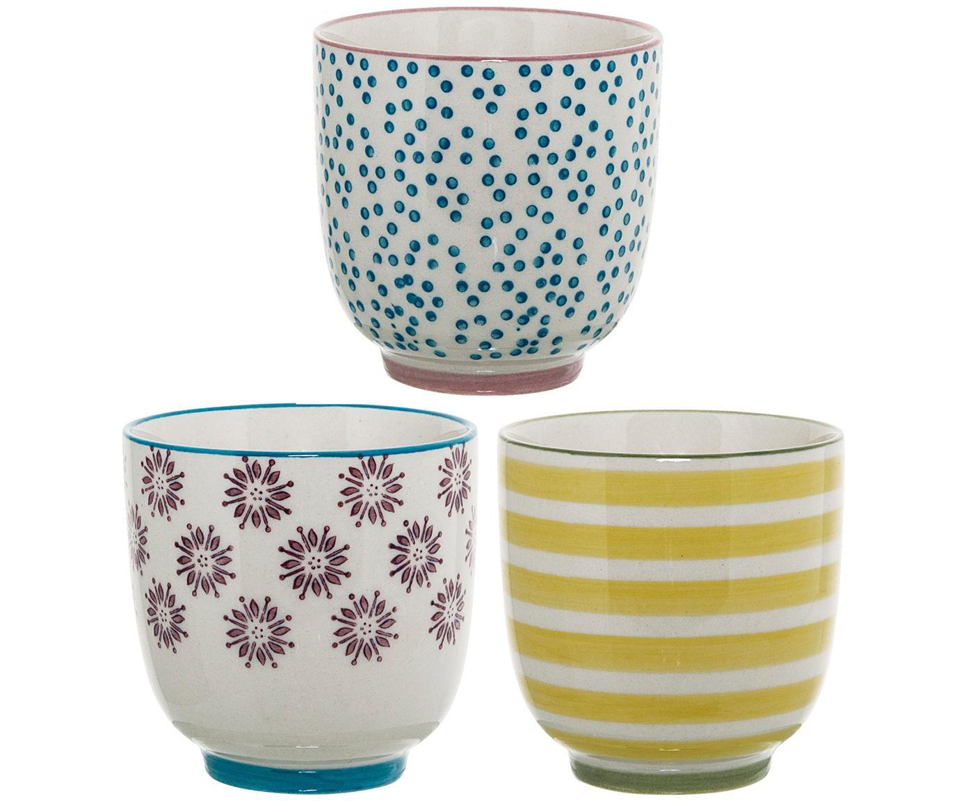 Set de tazas Patrizia, 3pzas., Gres, Blanco, azul, rojo, amarillo, Ø 7 x Al 7 cm