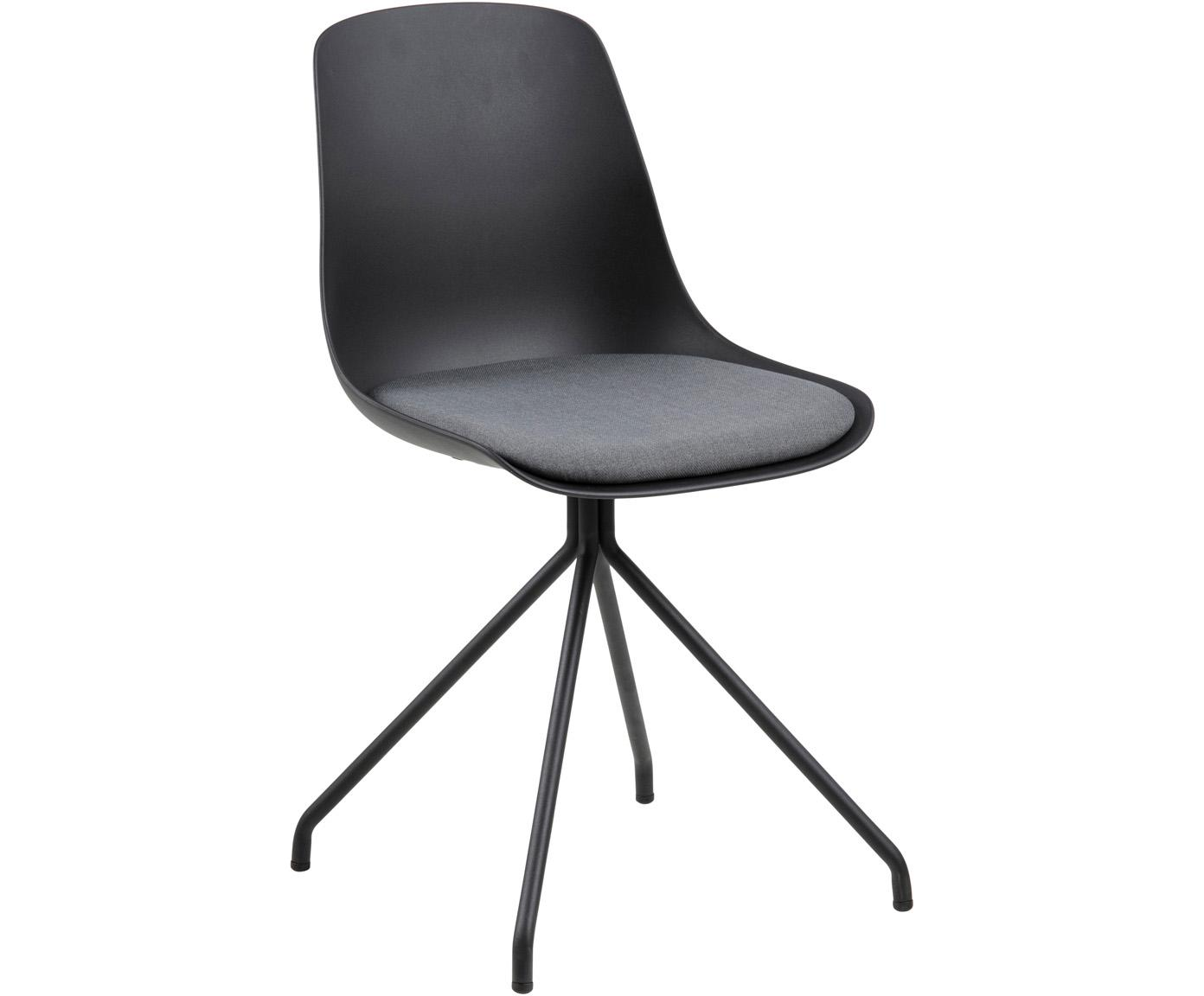 Sedia nera Eva, Gambe: metallo rivestito, Seduta: materiale sintetico, Nero, Larg. 51 x Prof. 85 cm