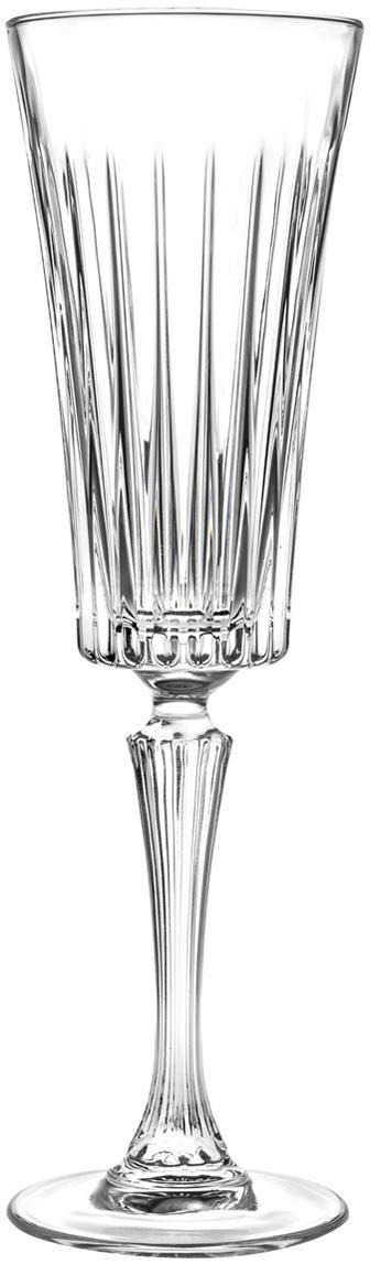 Kristall-Sektgläser Timeless mit Rillenstruktur, 6er-Set, Kristallglas, Transparent, Ø 8 x H 24 cm