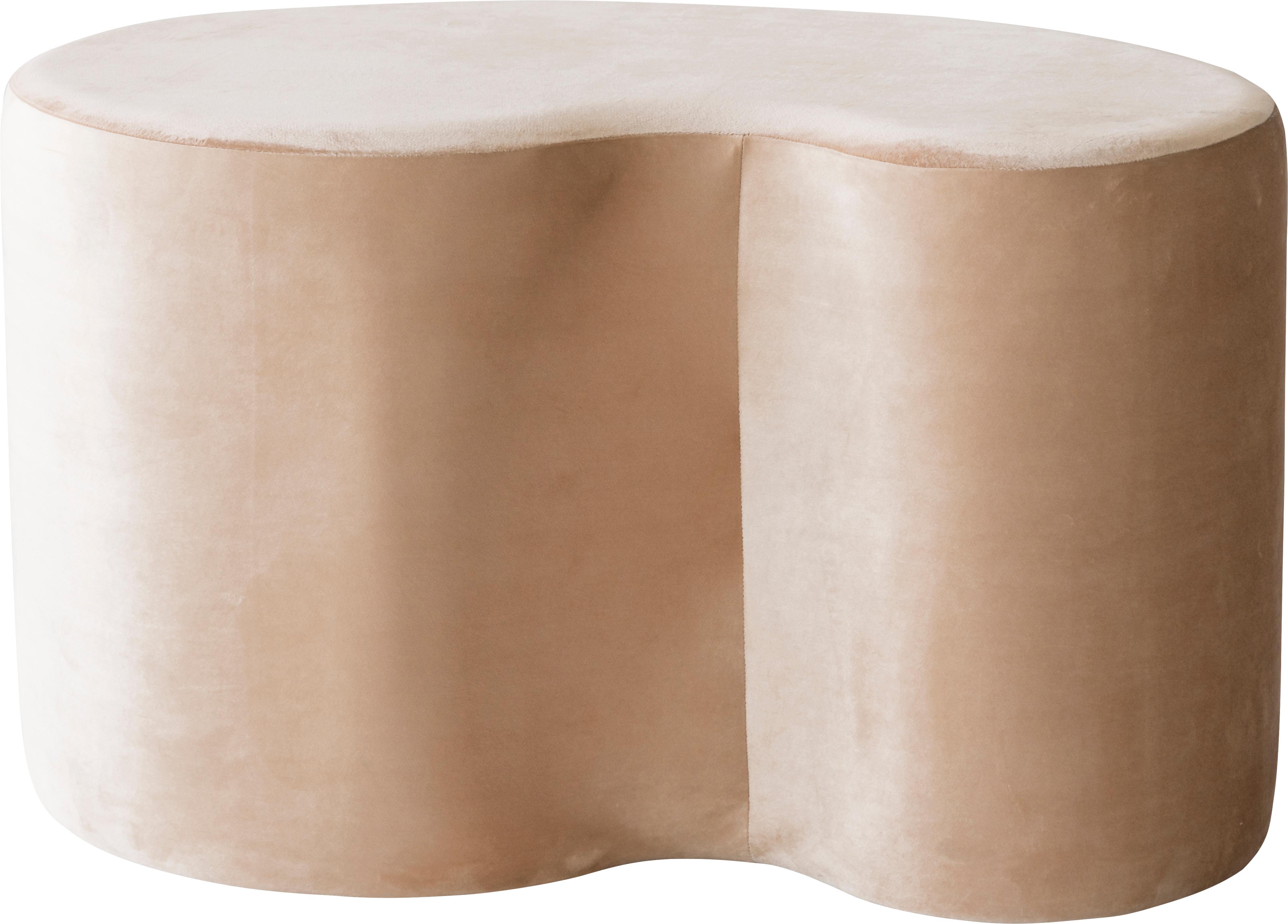 Puf de terciopelo Cloe, Tapizado: terciopelo de poliéster b, Estructura: tablero de fibras de dens, Beige, An 80 x F 50 cm