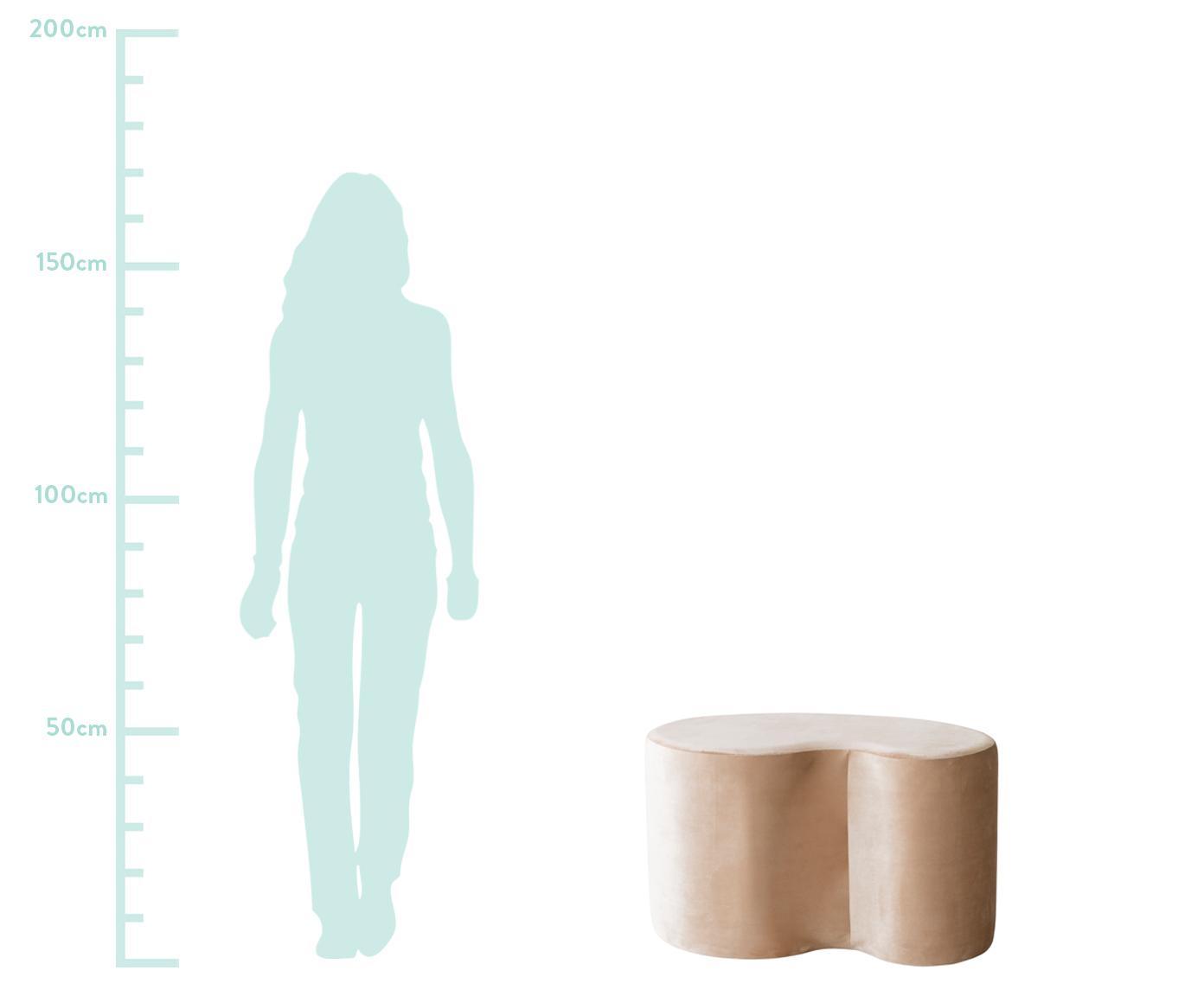 Lśniący puf z aksamitu Cloe, Tapicerka: aksamit poliestrowy, Stelaż: płyta pilśniowa średniej , Beżowy, S 80 x G 50 cm