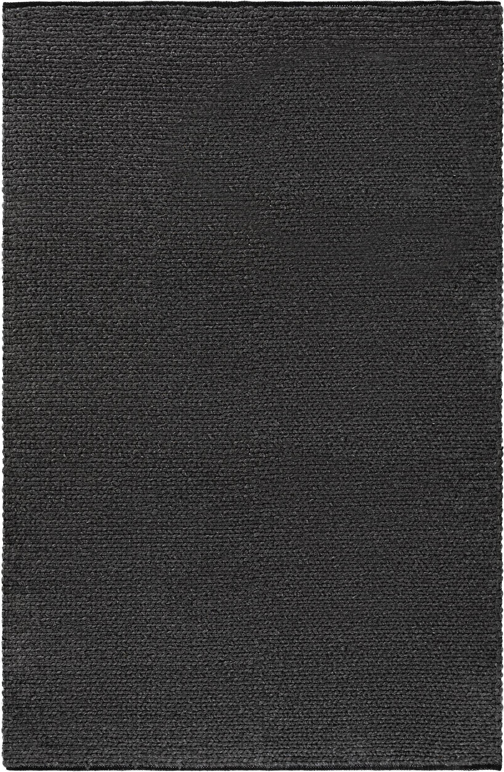 Handgeweven wollen vloerkleed Uno in donkergrijs gevlekt met gevlochten structuur, 60% wol, 40% polyester., Donkergrijs, gevlekt, B 120 x L 170 cm (maat S)