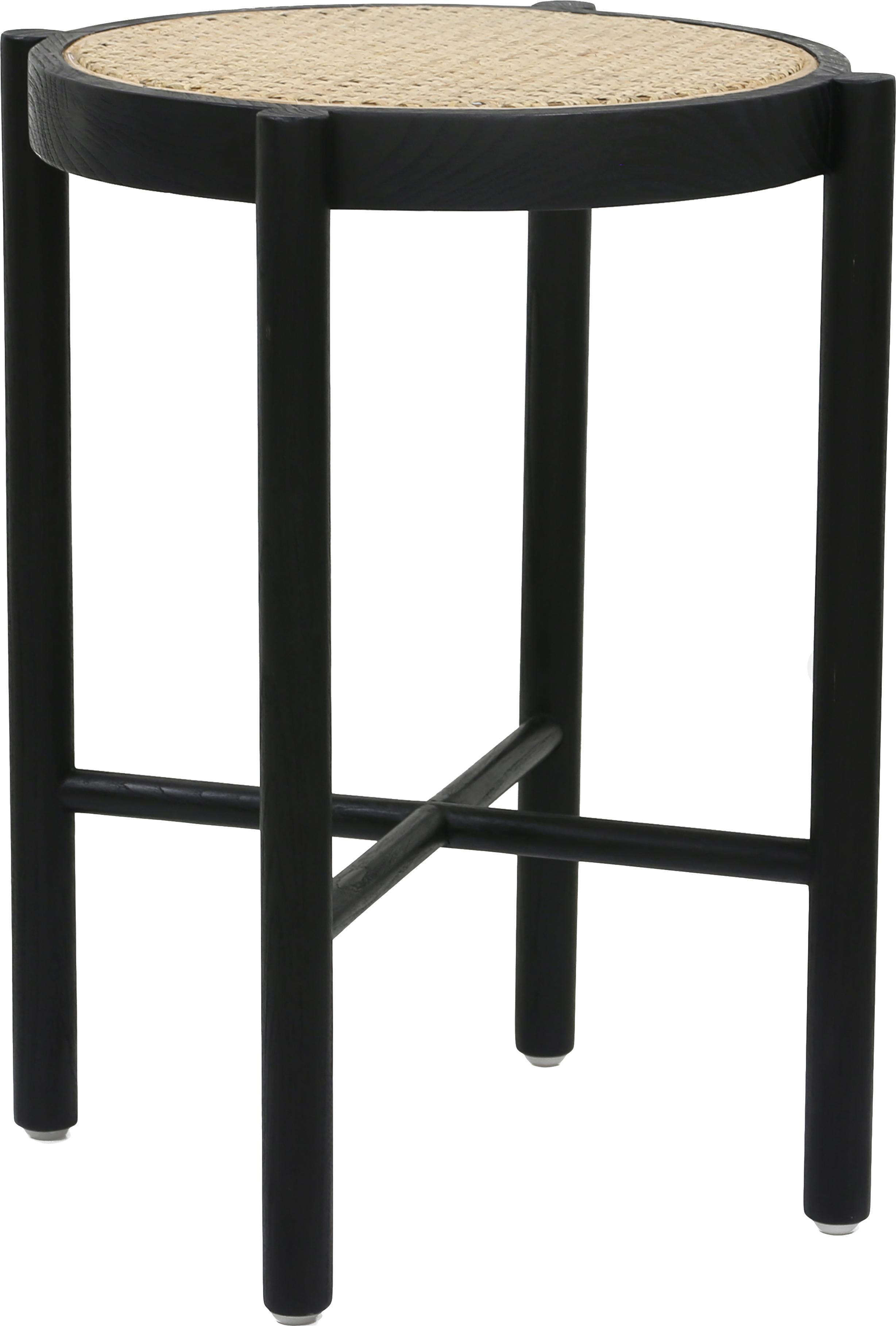 Kruk Retro met Weens vlechtwerk, Zwart, Ø 35 x H 50 cm