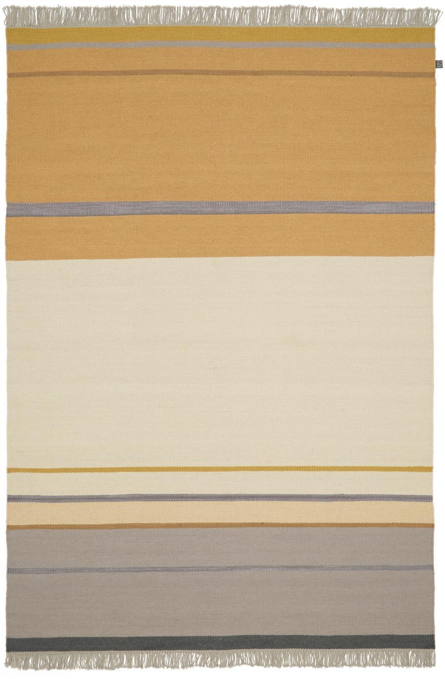 Wollteppich Metallum in Beige/Gelb mit Fransen, handgewebt, Mehrfarbig, B 140 x L 200 cm (Grösse S)