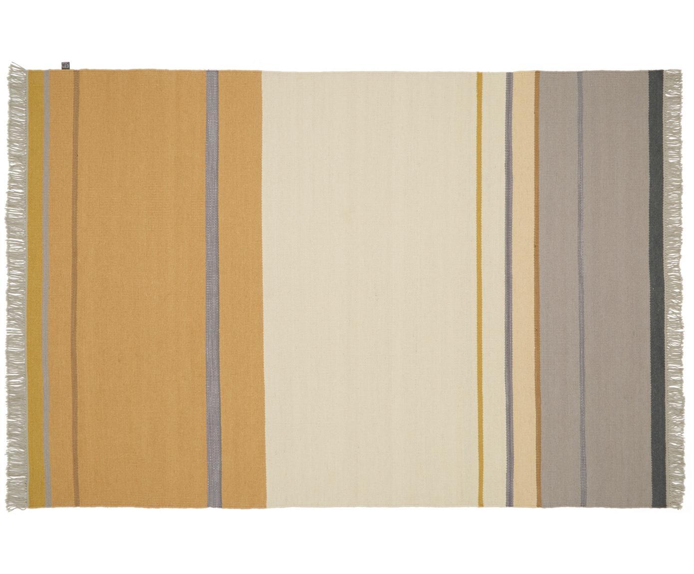 Handgeweven wollen vloerkleed Metallum in beige/geel met franjes, Multicolour, B 140 x L 200 cm (maat S)