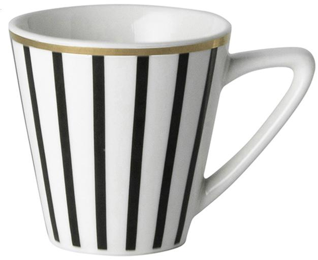 Tazas de café Pluto Loft, 4uds., Porcelana, Negro, blanco, dorado, Ø 6 x Al 6 cm